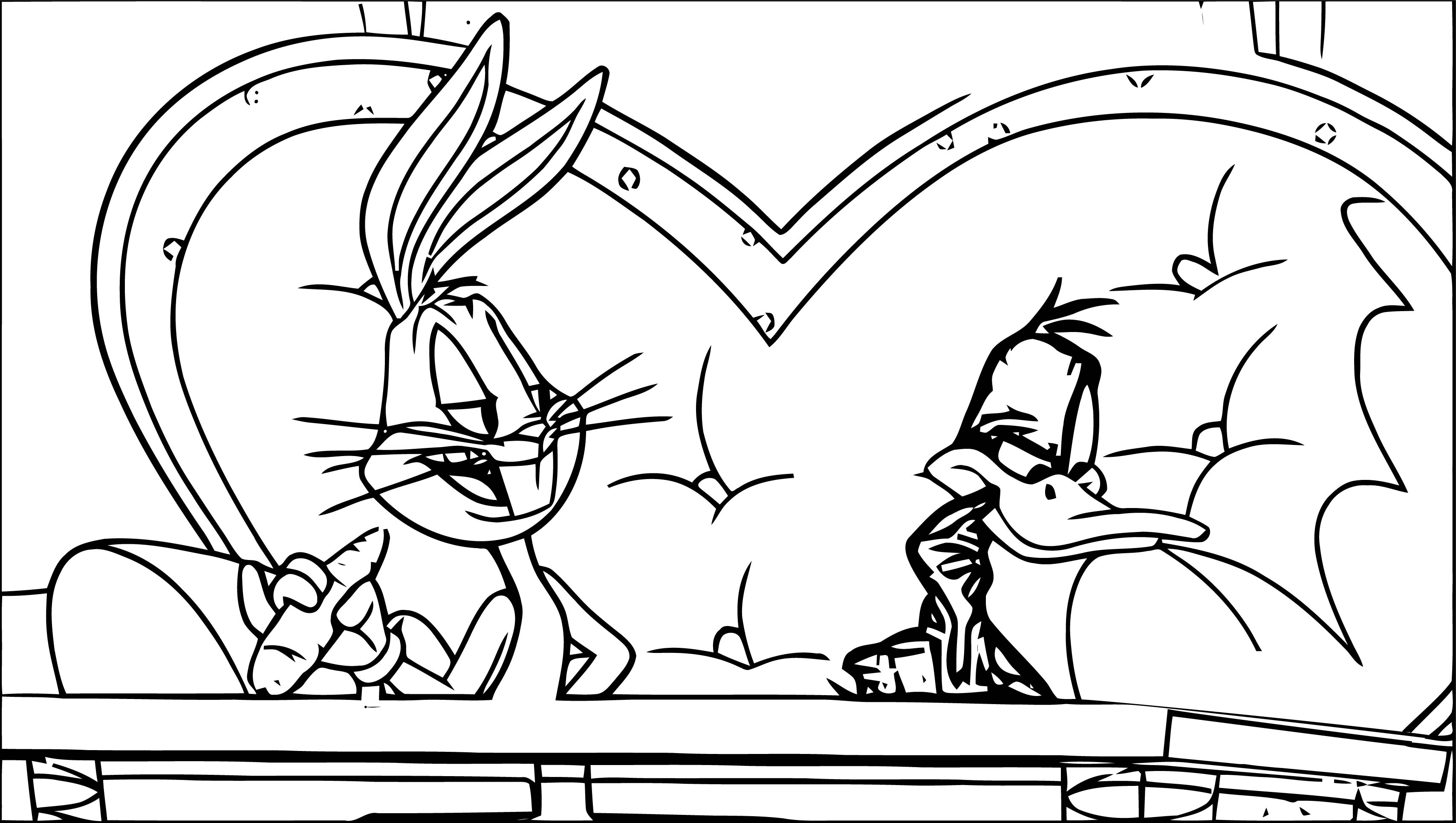 The Looney Tunes Show Rabbit Duck Talking Thinking Coloring Page