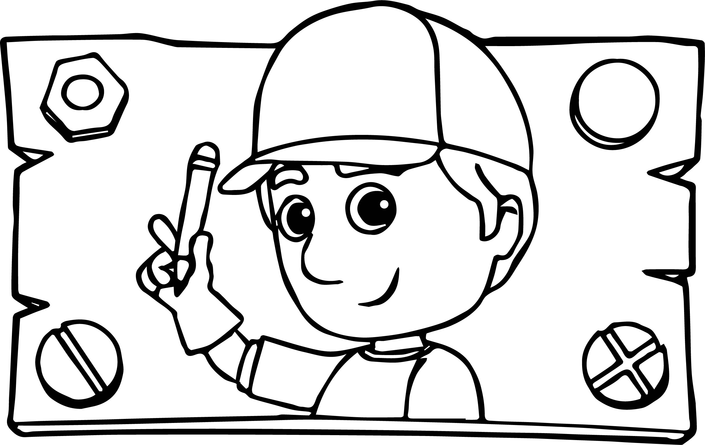 Wood Sign Handy Manny Coloring Page