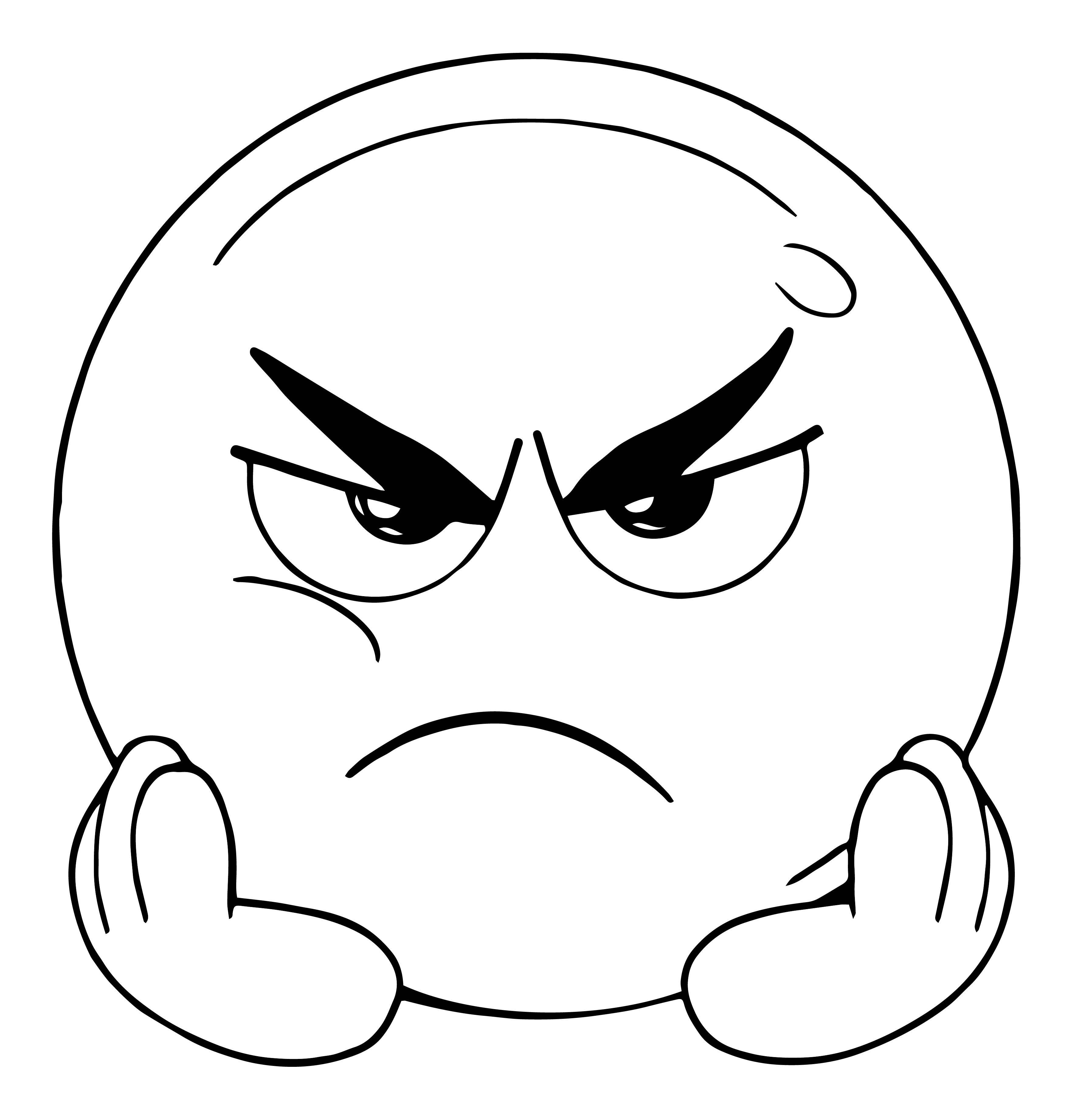 angry and boring face emoticon coloring page