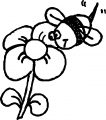 bee flower insect coloring page
