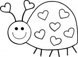 cute bug on heart insect coloring page