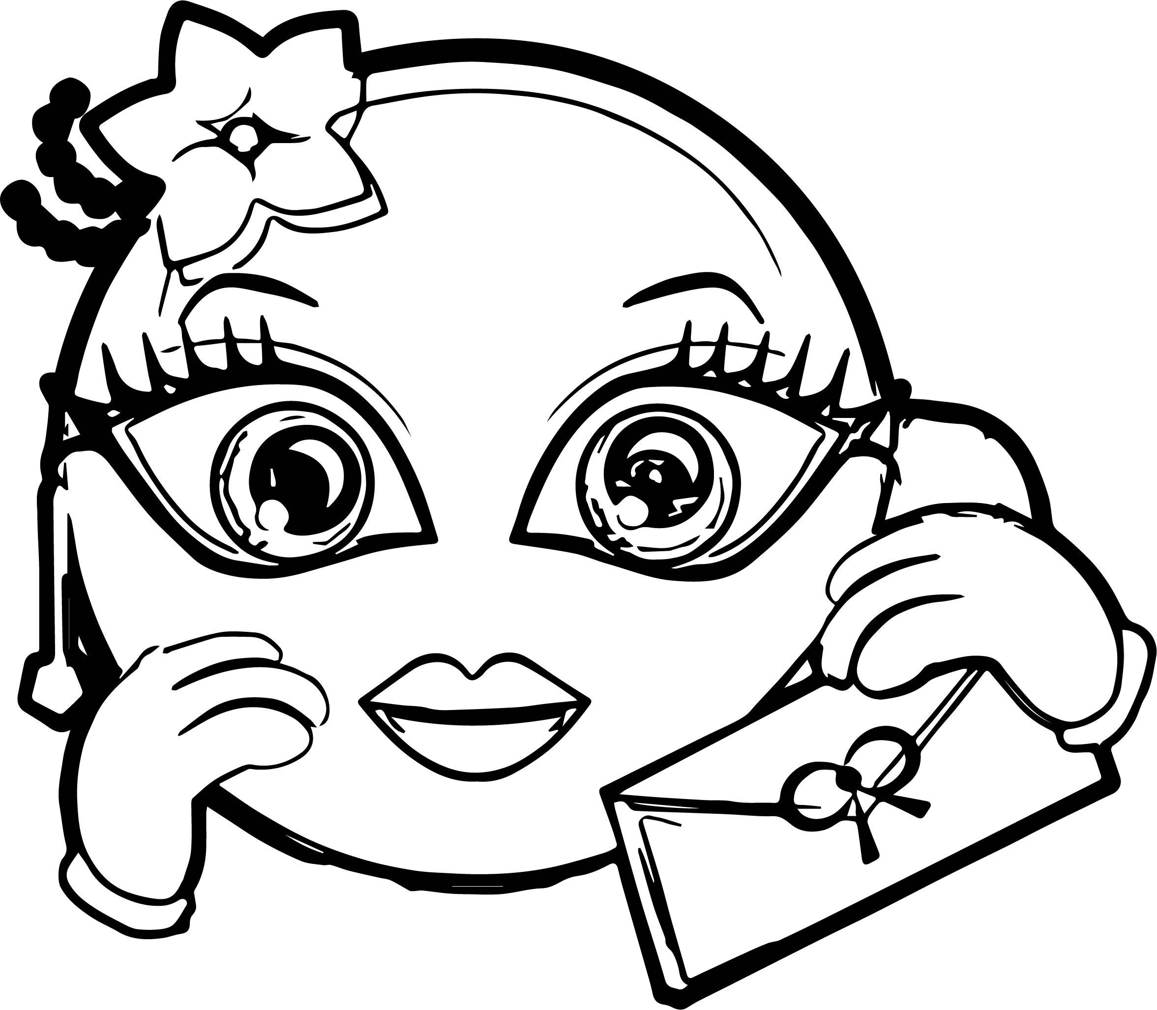 emoticon with french accent girl circle coloring page