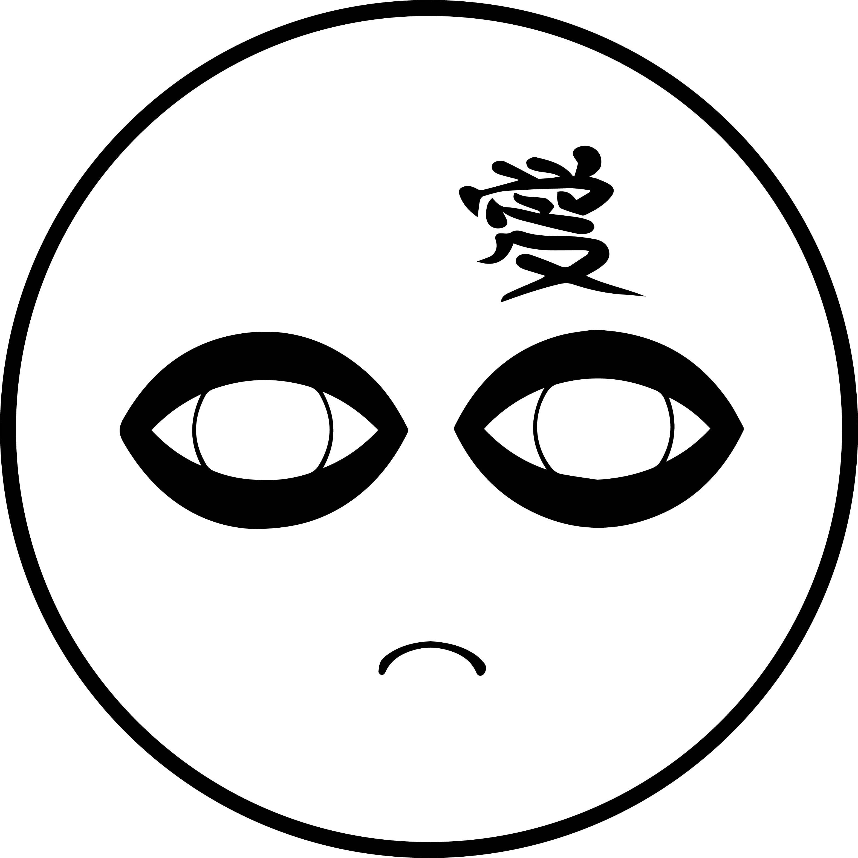 gaara emoticon japanese face coloring page
