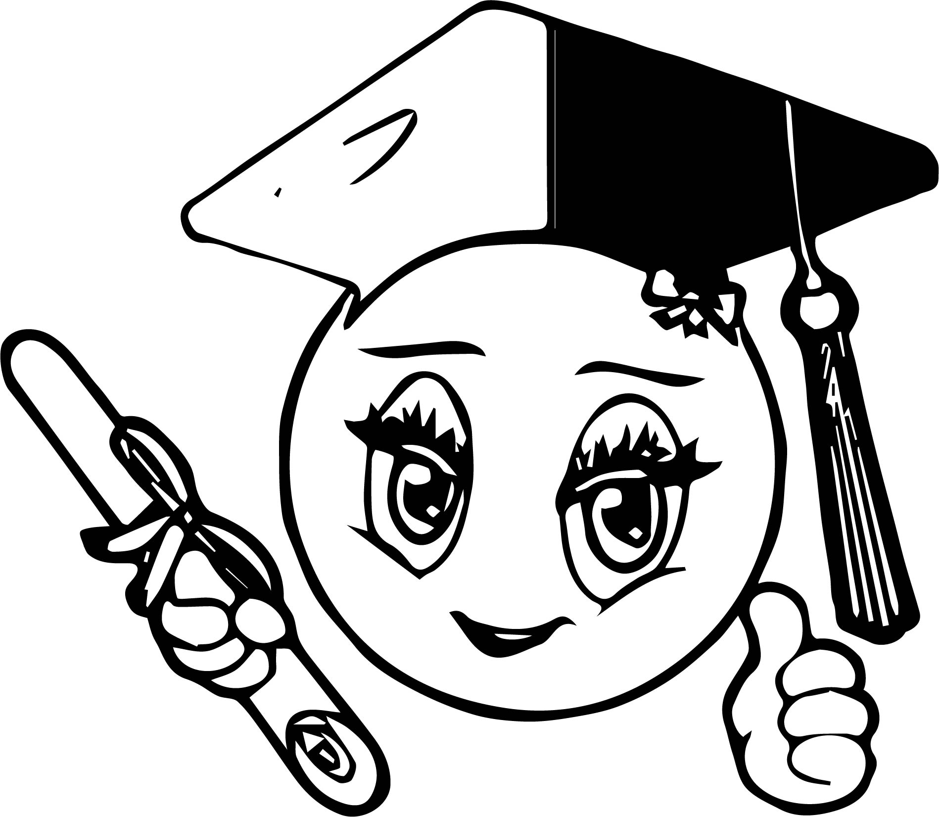 graduation dream smiley emoticon face coloring page
