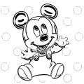 Baby Very Cute Mickey Mouse Coloring Page