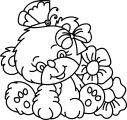 Cute Bear Animal Flower Coloring Page