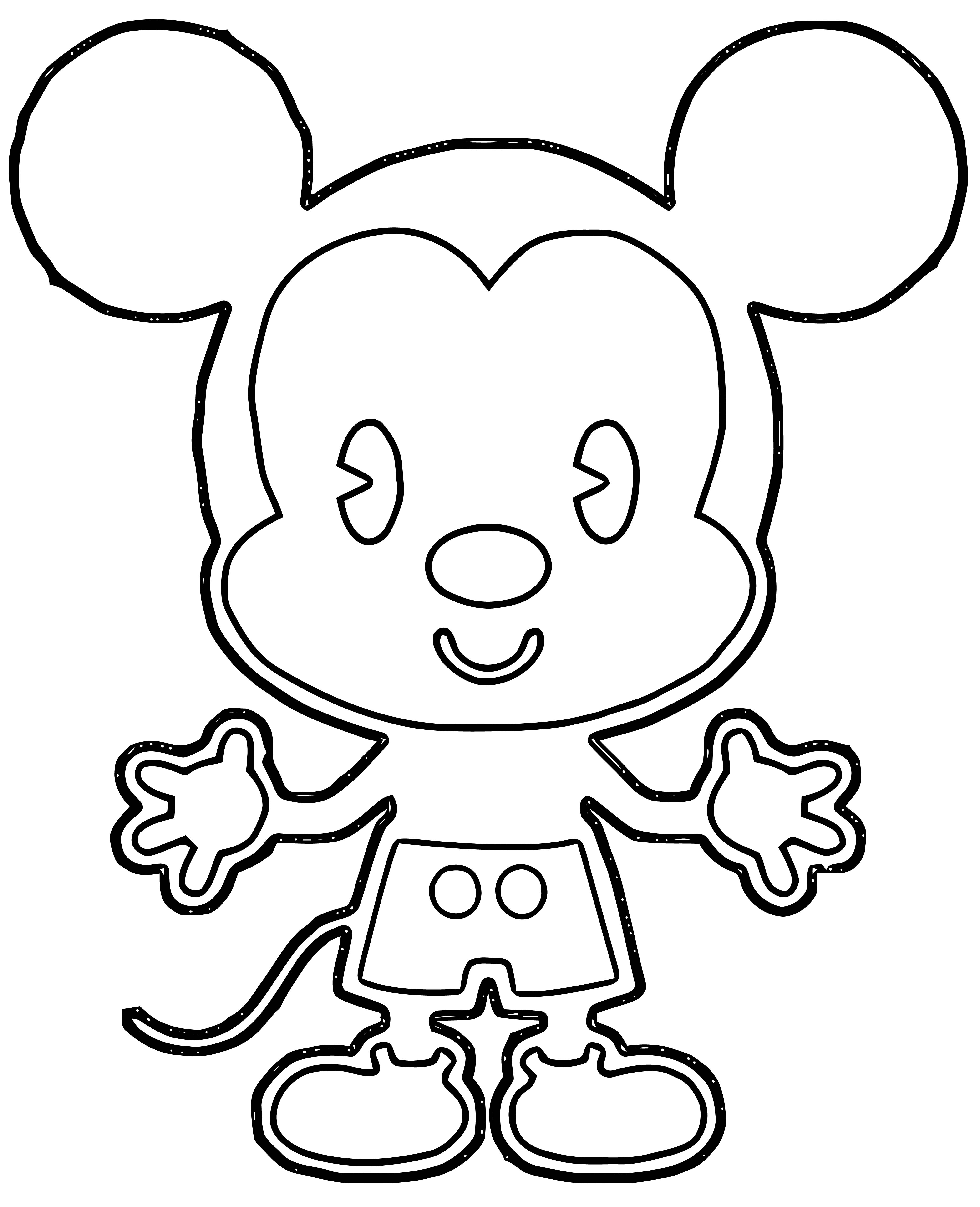 Cute Mickey Mouse Outline Coloring Page
