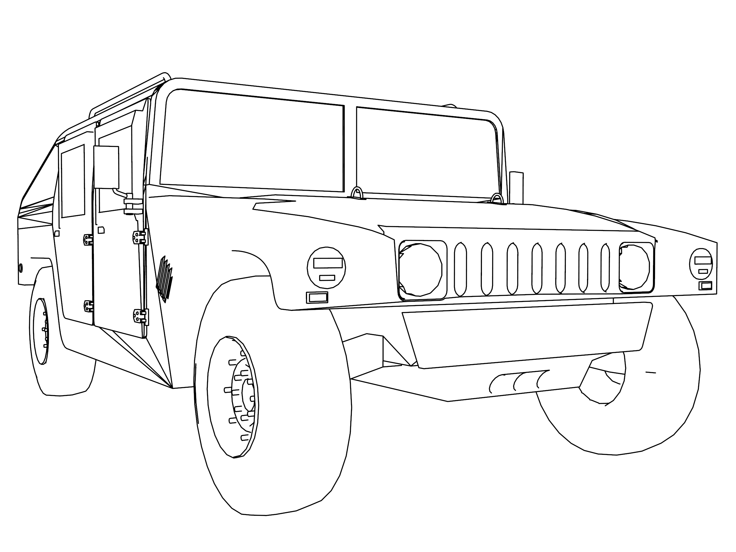 Hummer 2 Truck Car Coloring Page