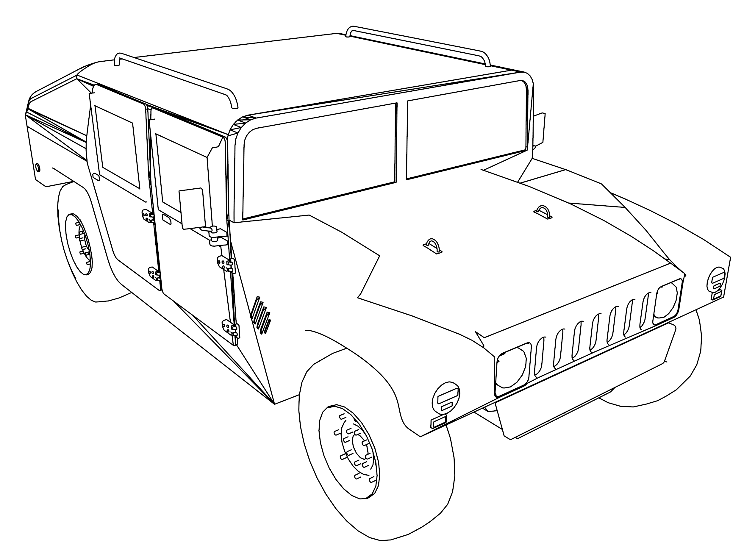 Hummer 3 Truck Car Coloring Page