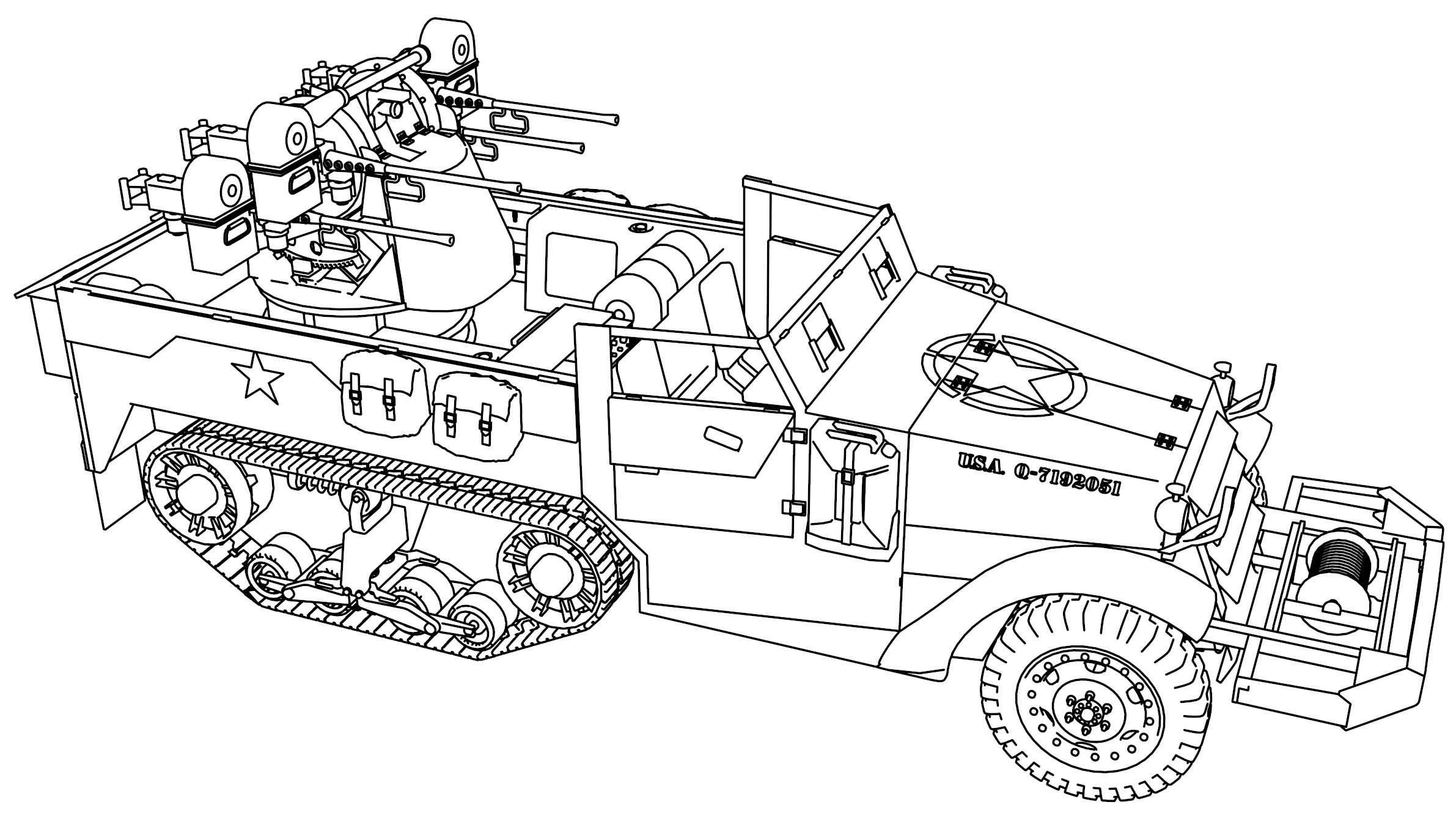 M16 Half Track Military Truck Coloring Page