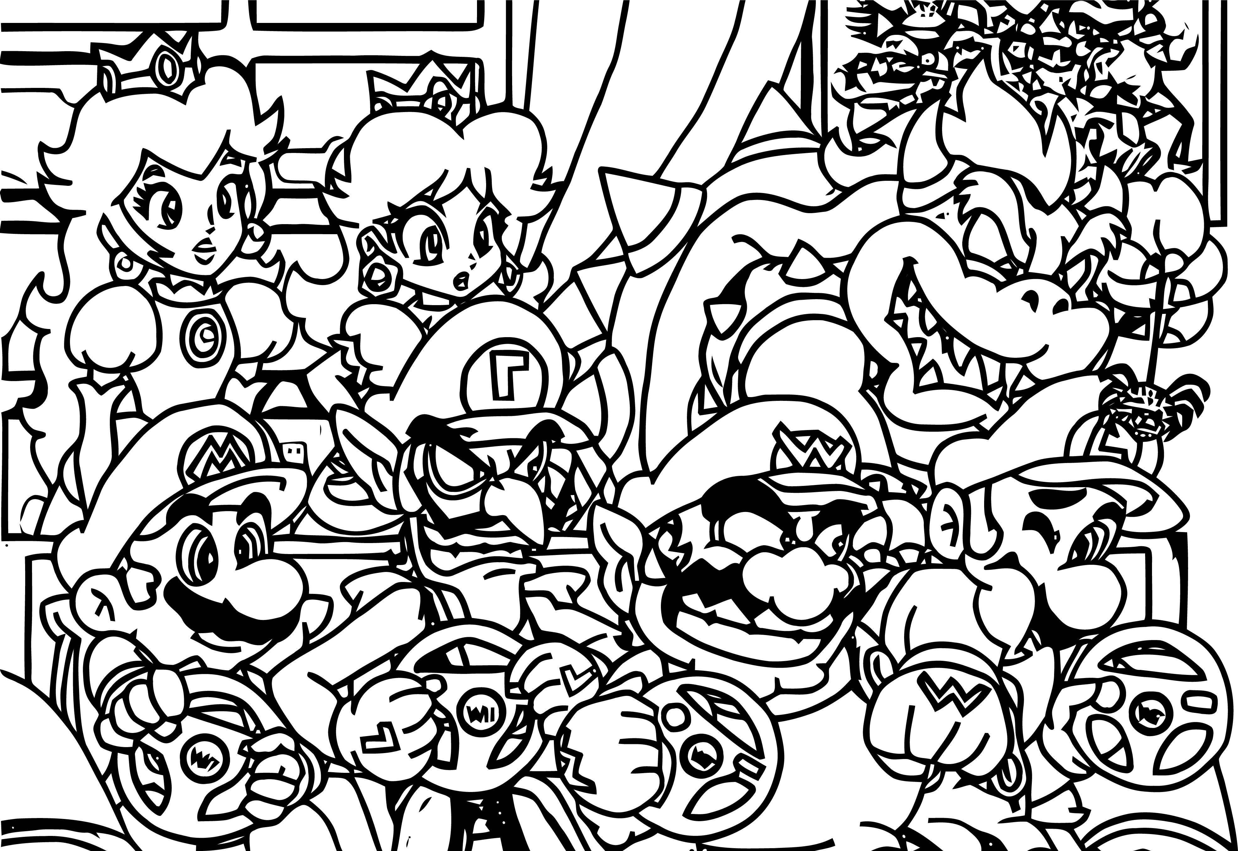 Mario Kart Wii Boys Time Super Mario Bros Coloring Page