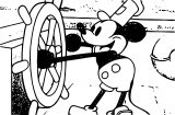 Mickey Mouse In The Ship Coloring Page