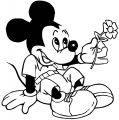 Mickey Mouse Love Flower Coloring Page