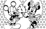 Mickey Mouse Minnie Mouse Love Couple Heart Coloring Page
