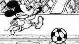 Mickey Mouse Play The Soccer And Running Coloring Page
