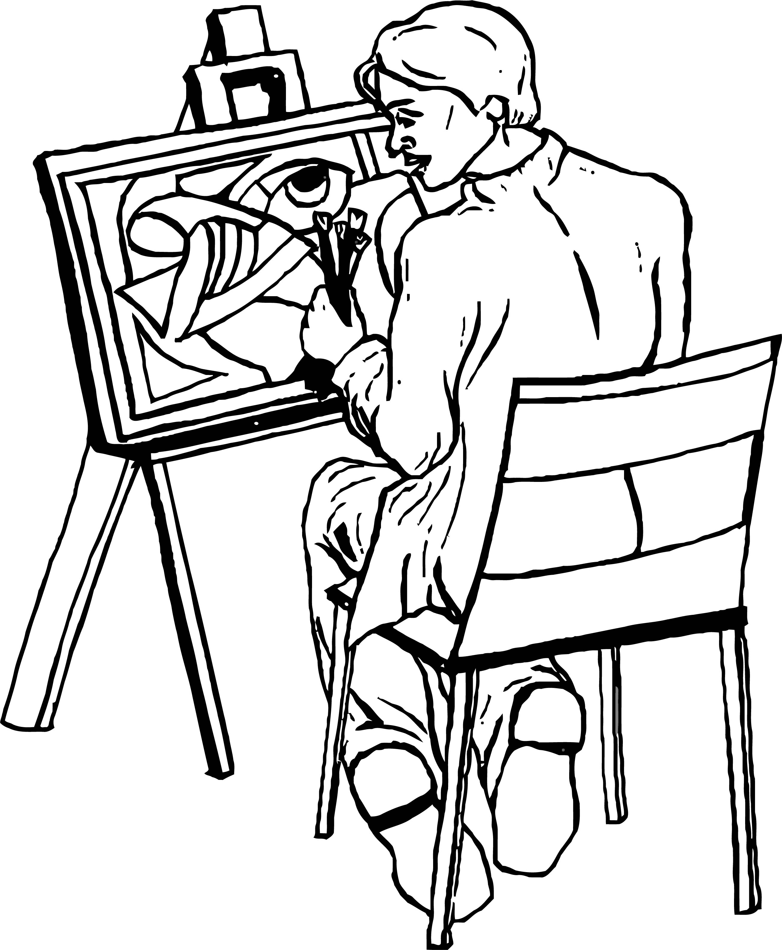 Painter Art Picture Coloring Page