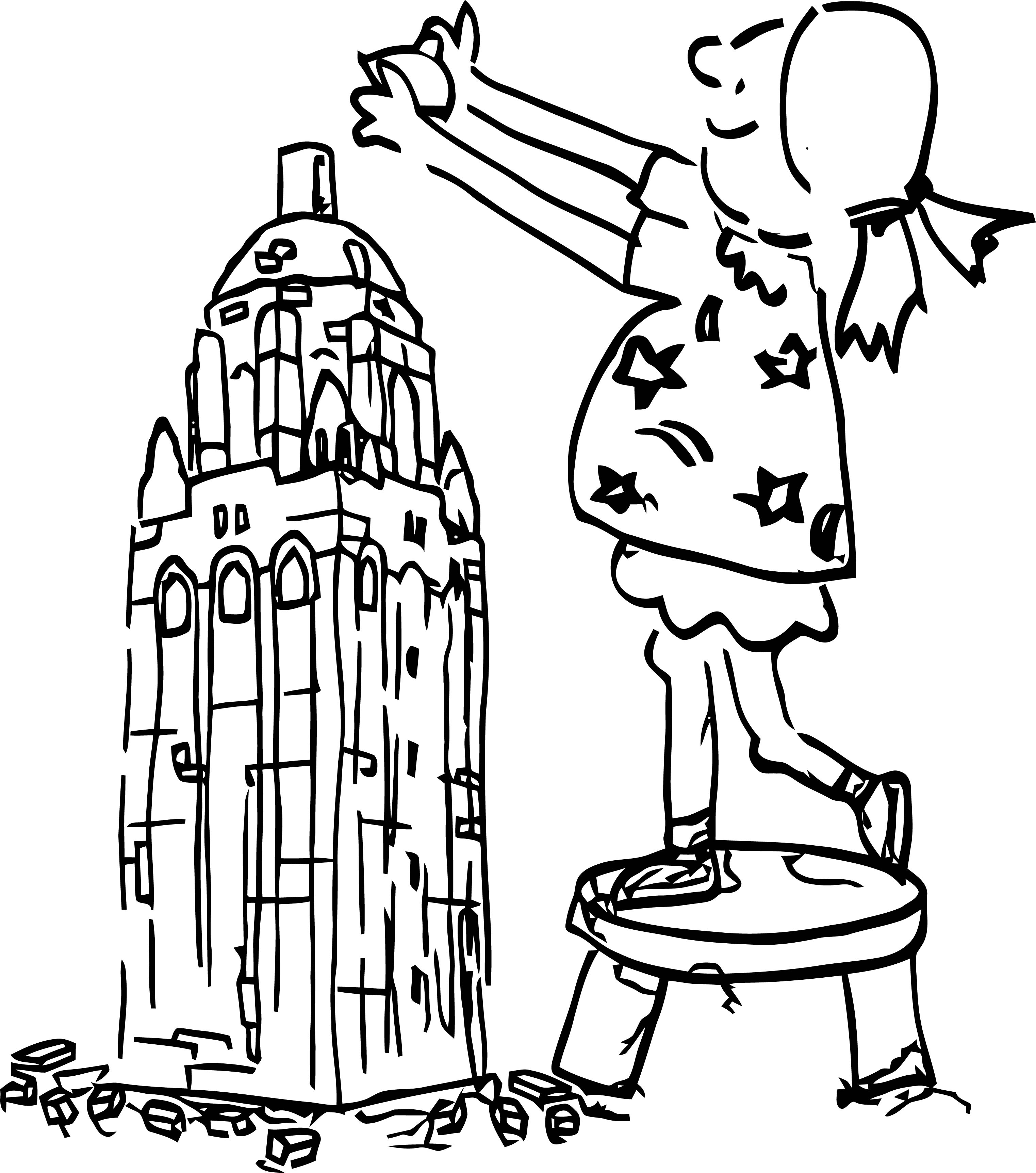 Painter Building Girl Coloring Page