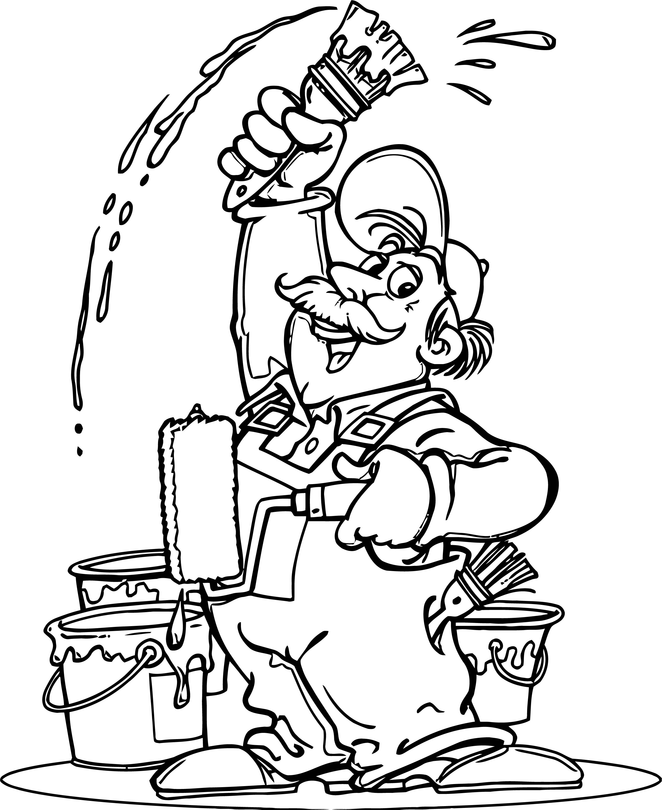 Painter Cartoon Happy Old Man Coloring Page