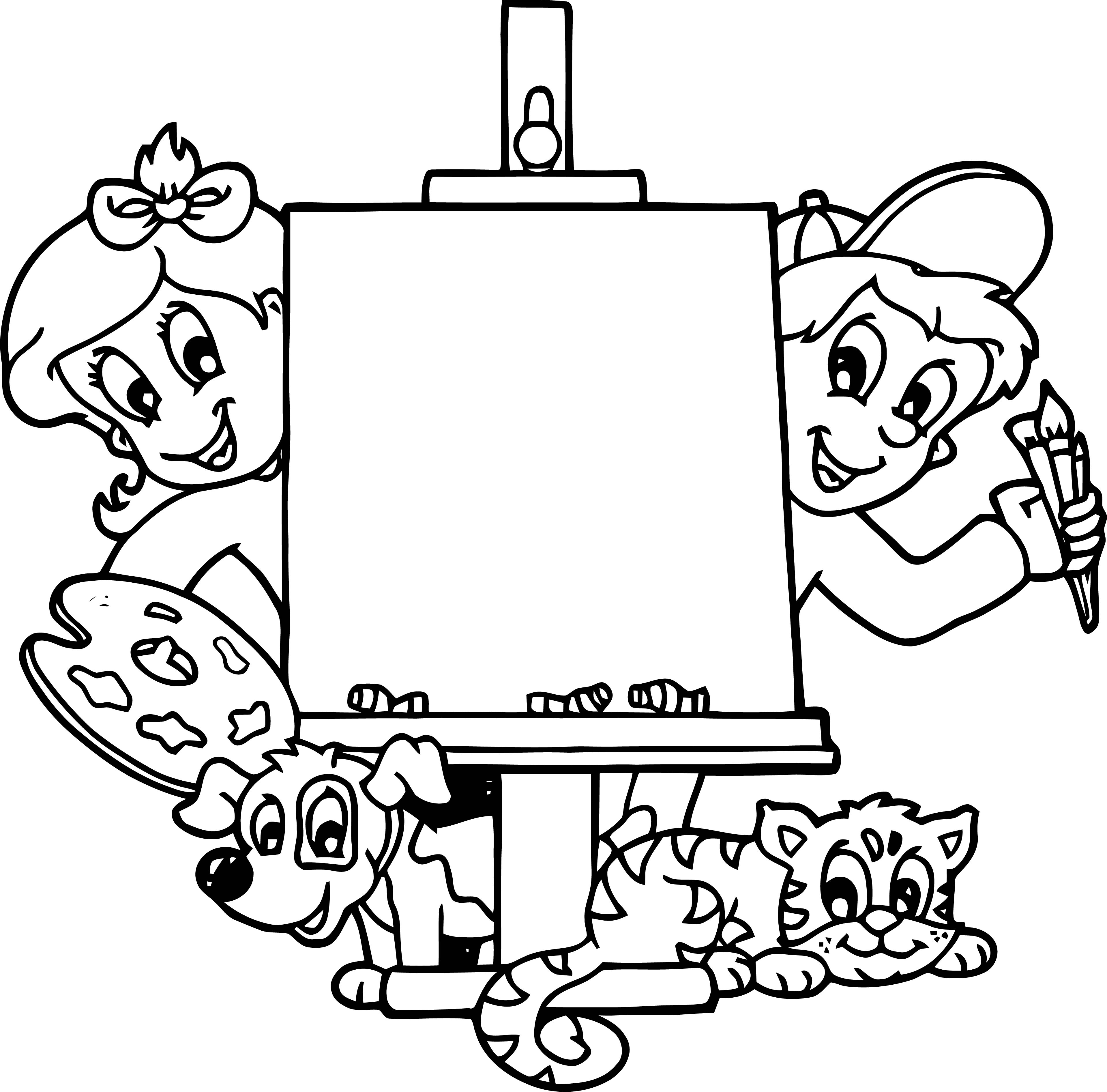 Painter Cartoon Kids Animal Cat Dog Coloring Page