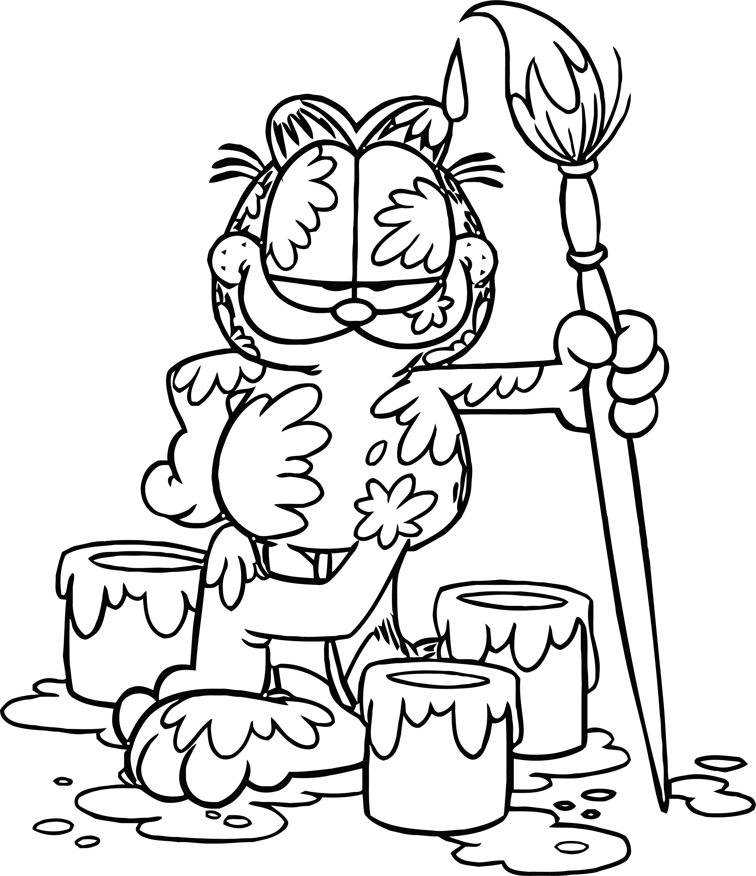 Painter Garfield Coloring Page