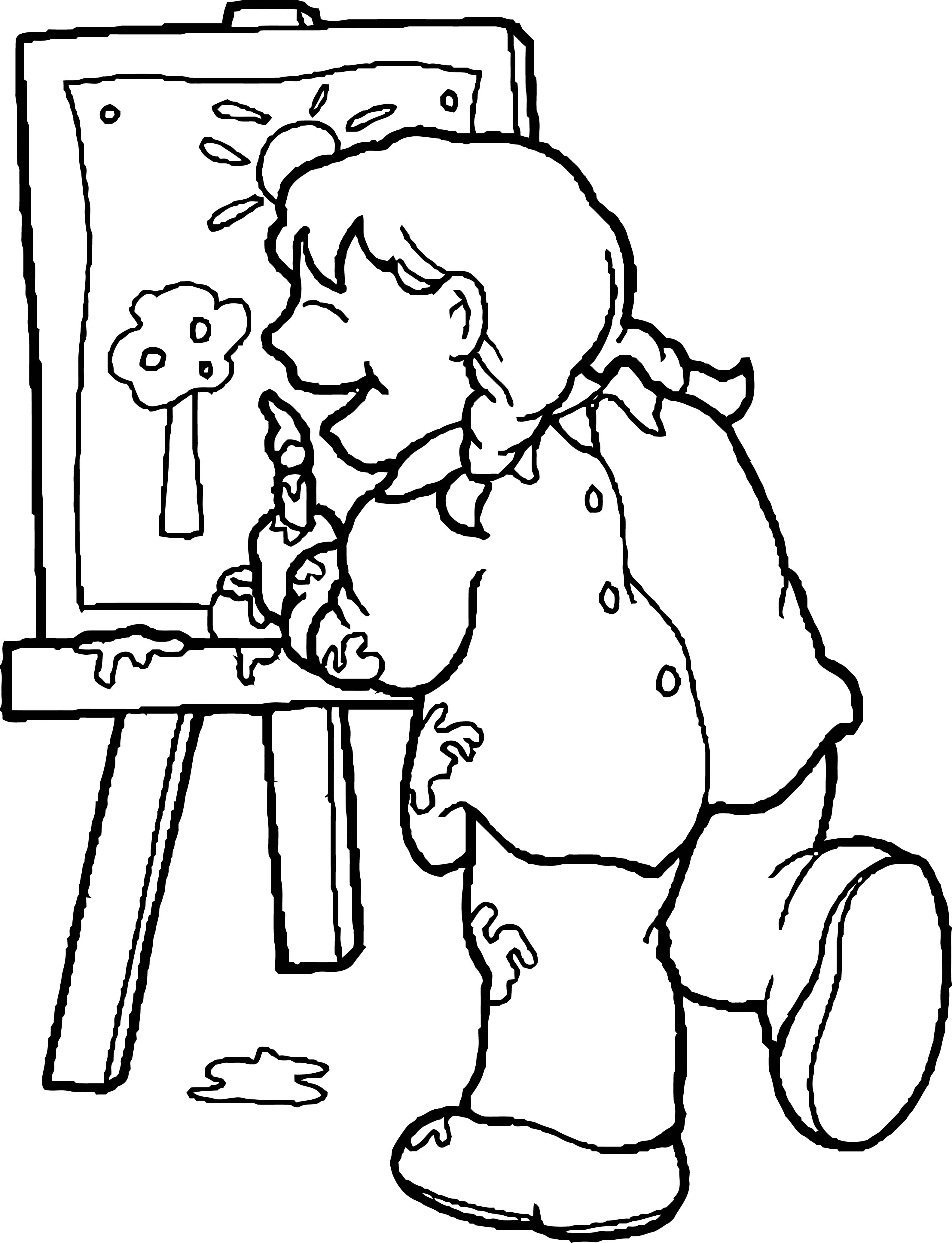 Painter Happy Girl Forest Paint Coloring Page