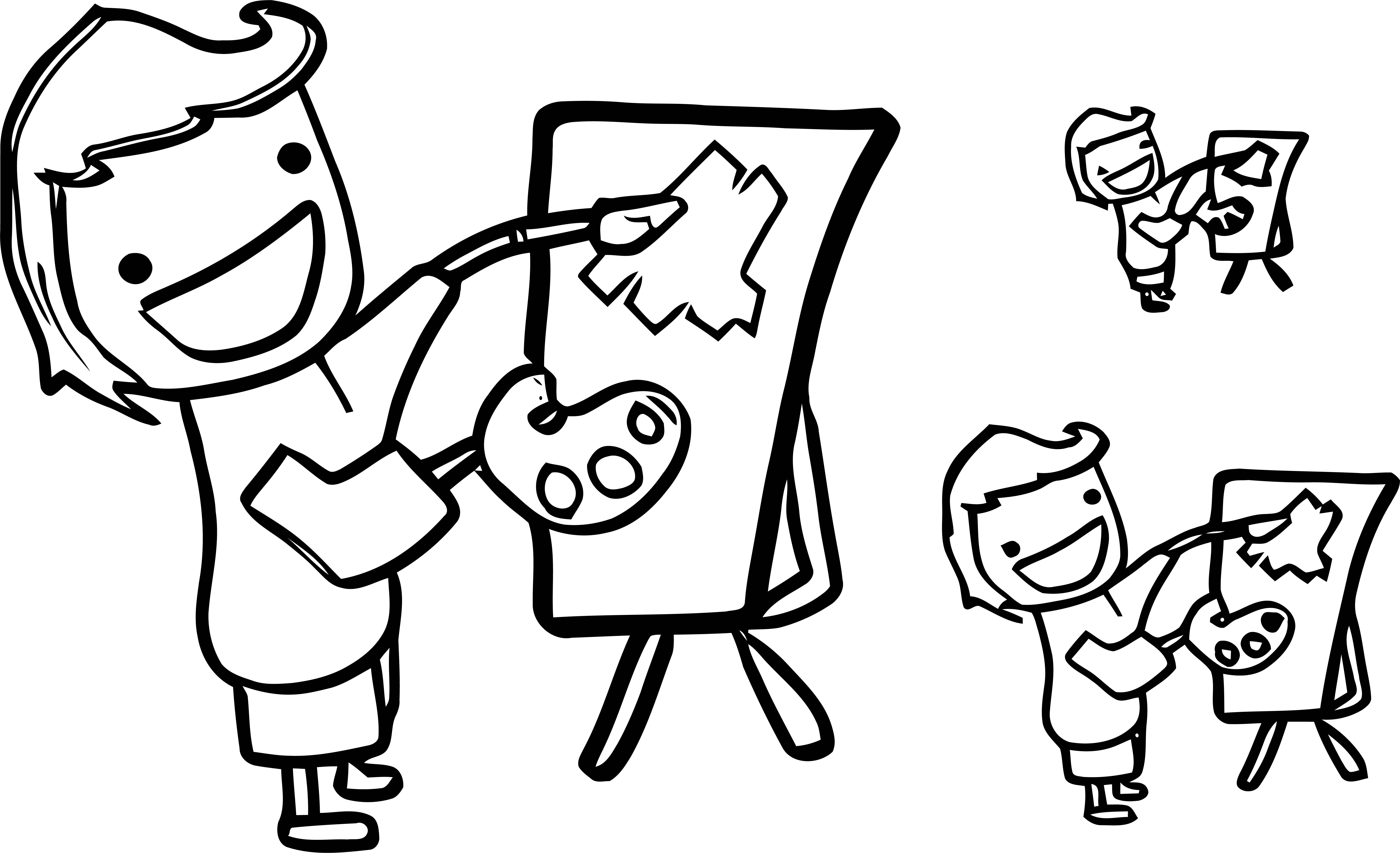 Painter Line Boy Coloring Page