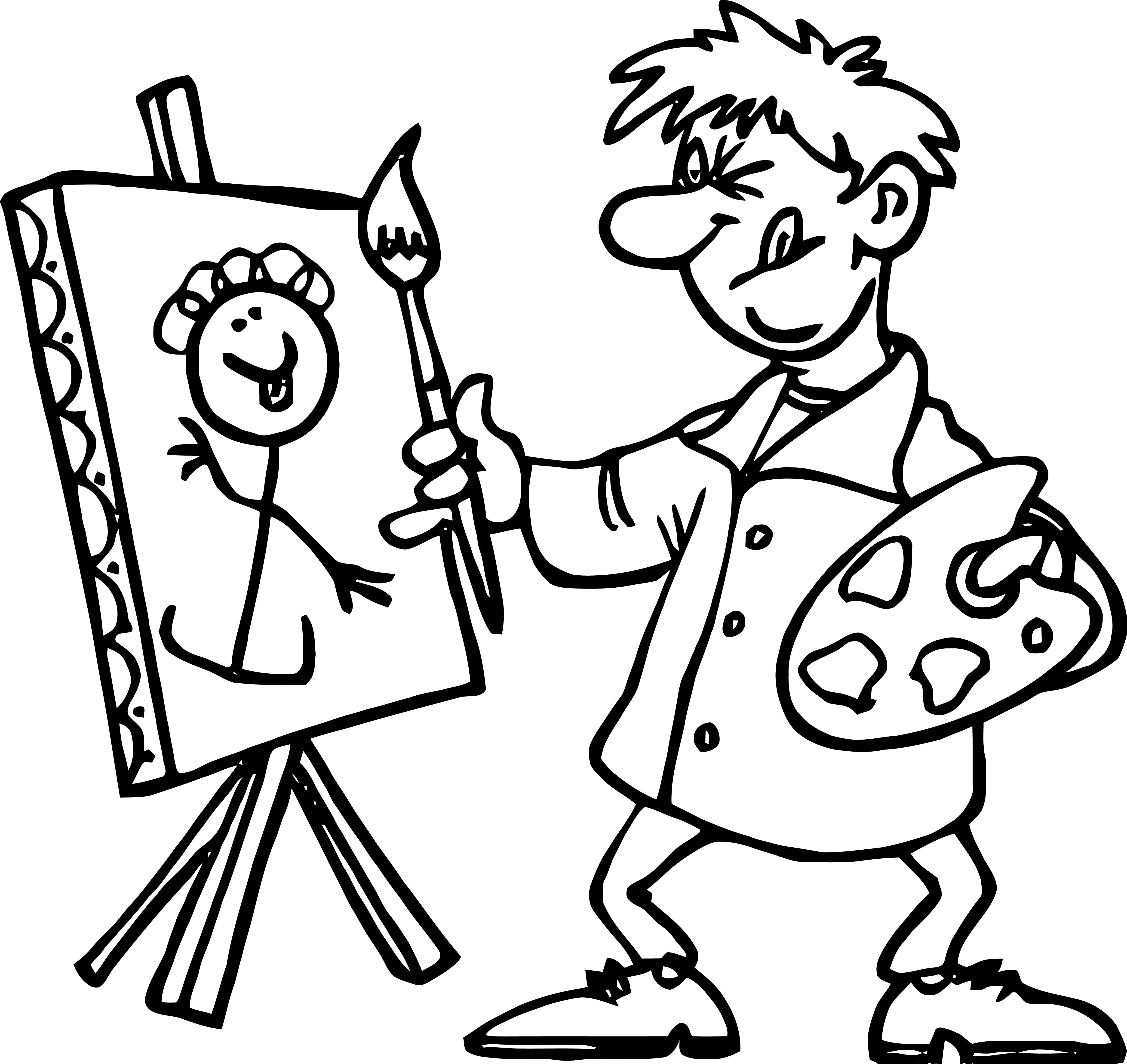 Painter Line Man Paint Coloring Page