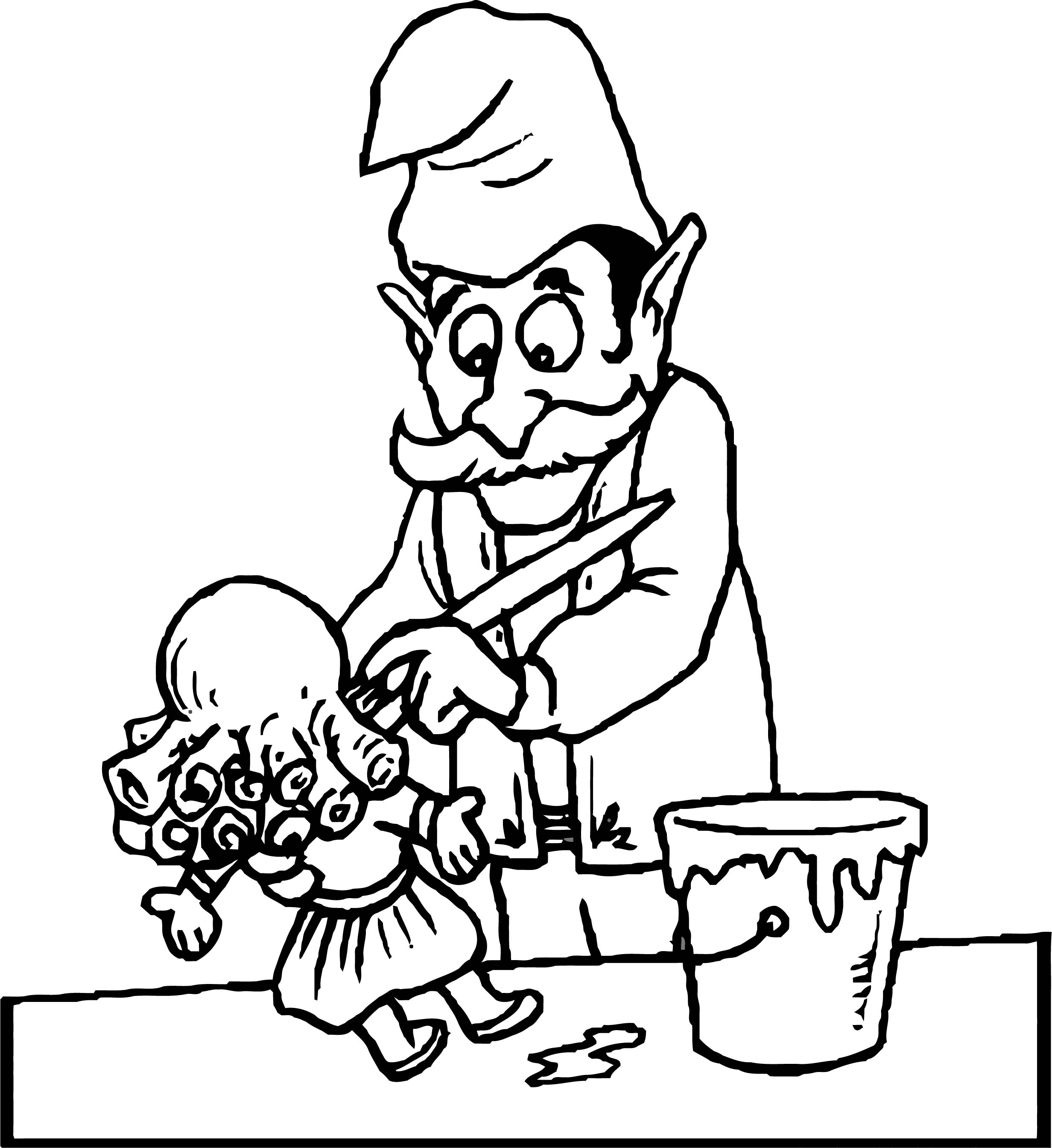 Painter Man Girl Paint Coloring Page
