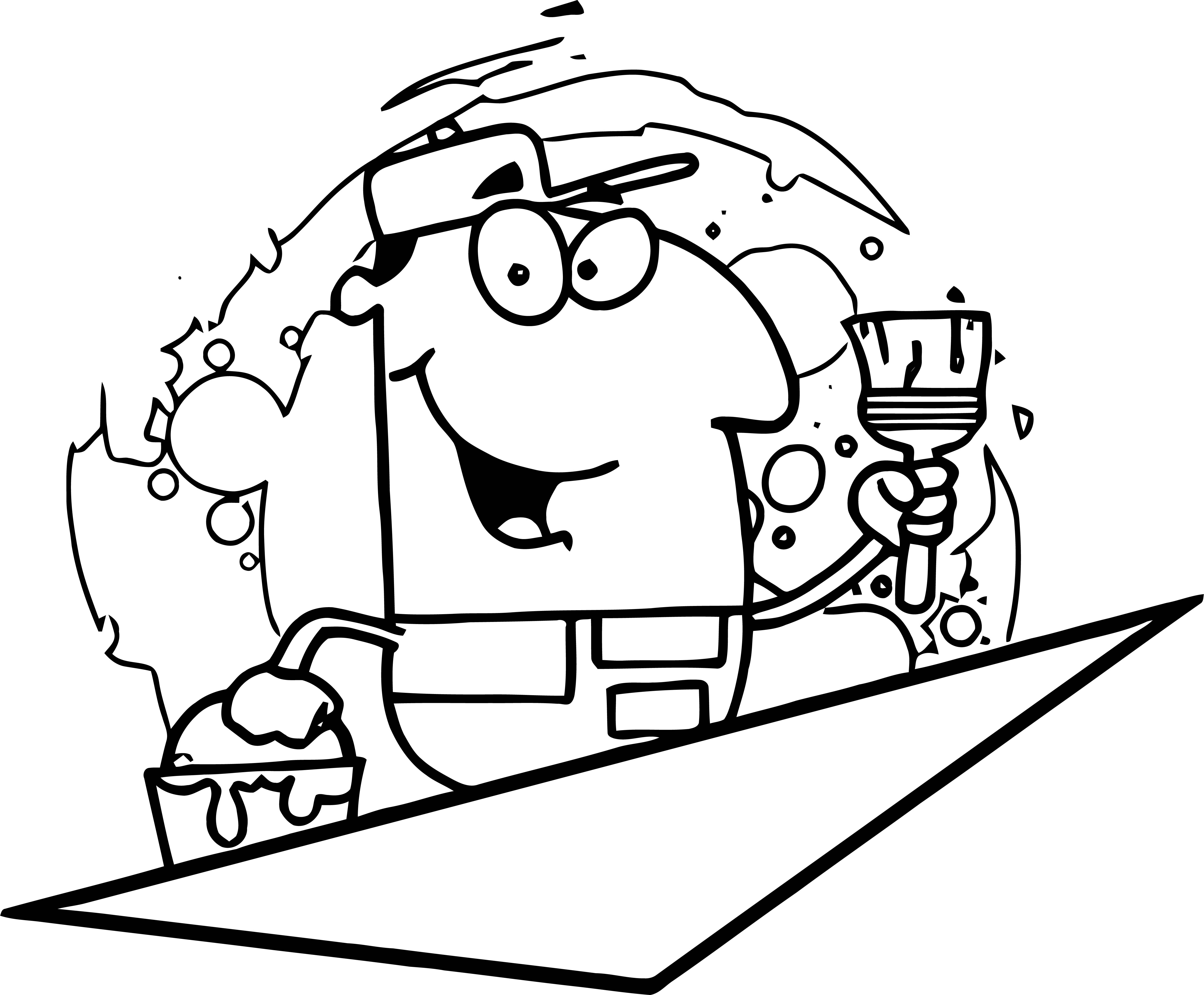 Painter Man Photo Cartoon Coloring Page