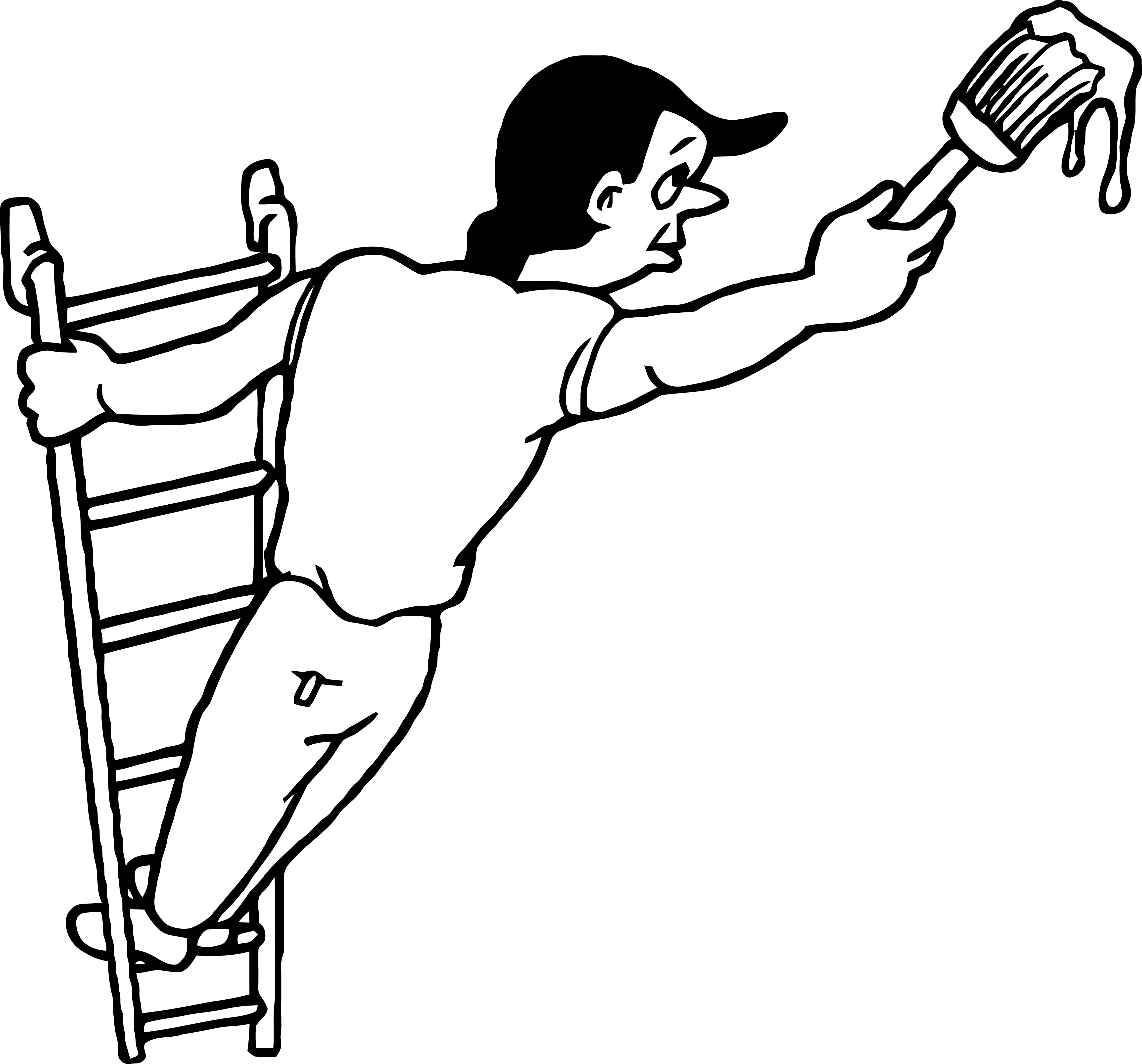 Painter Man Stair Hard Paint Coloring Page