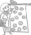 Painter Outline Flower Woman Coloring Page