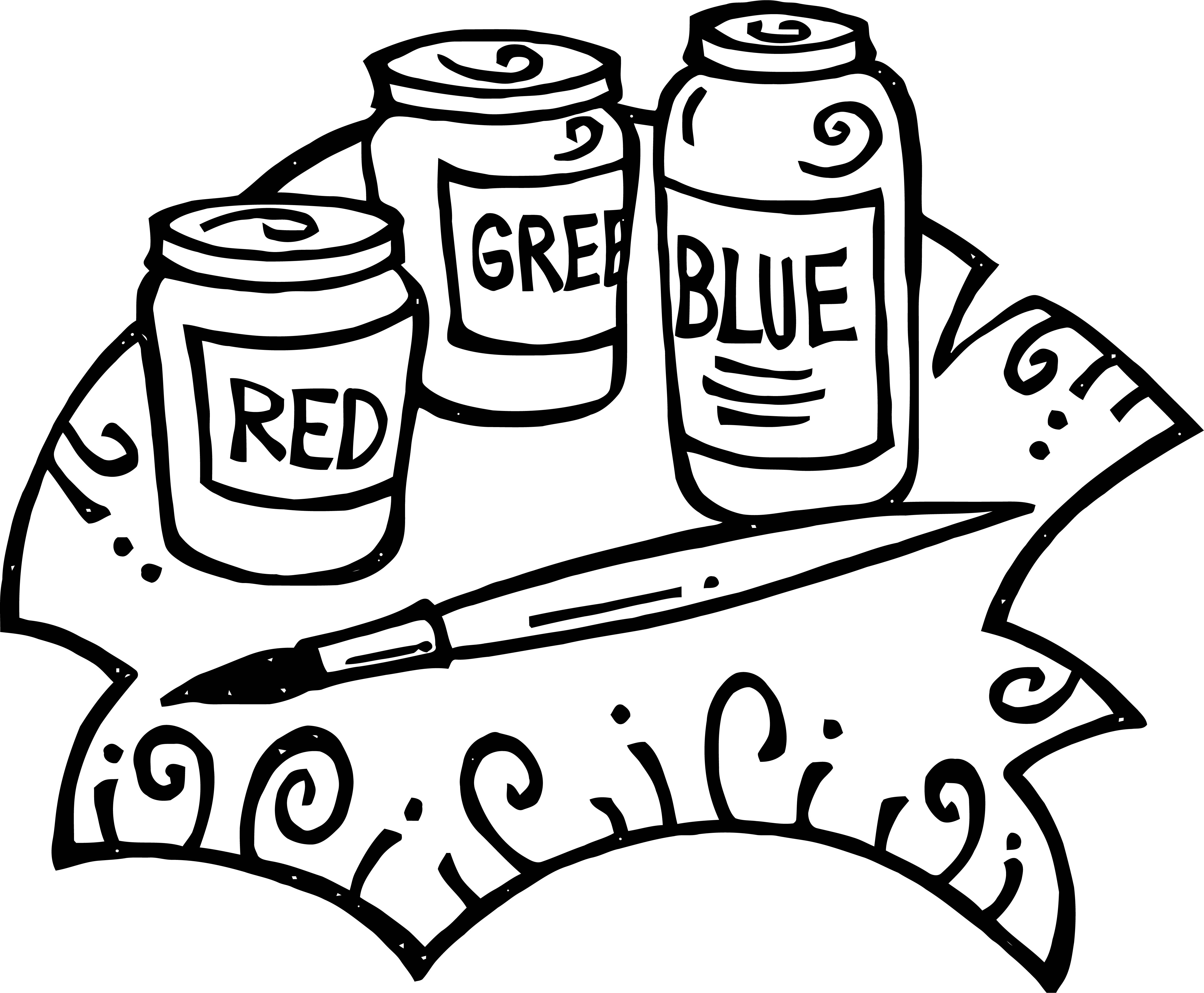 Painter Red Green Blue Paint Coloring Page