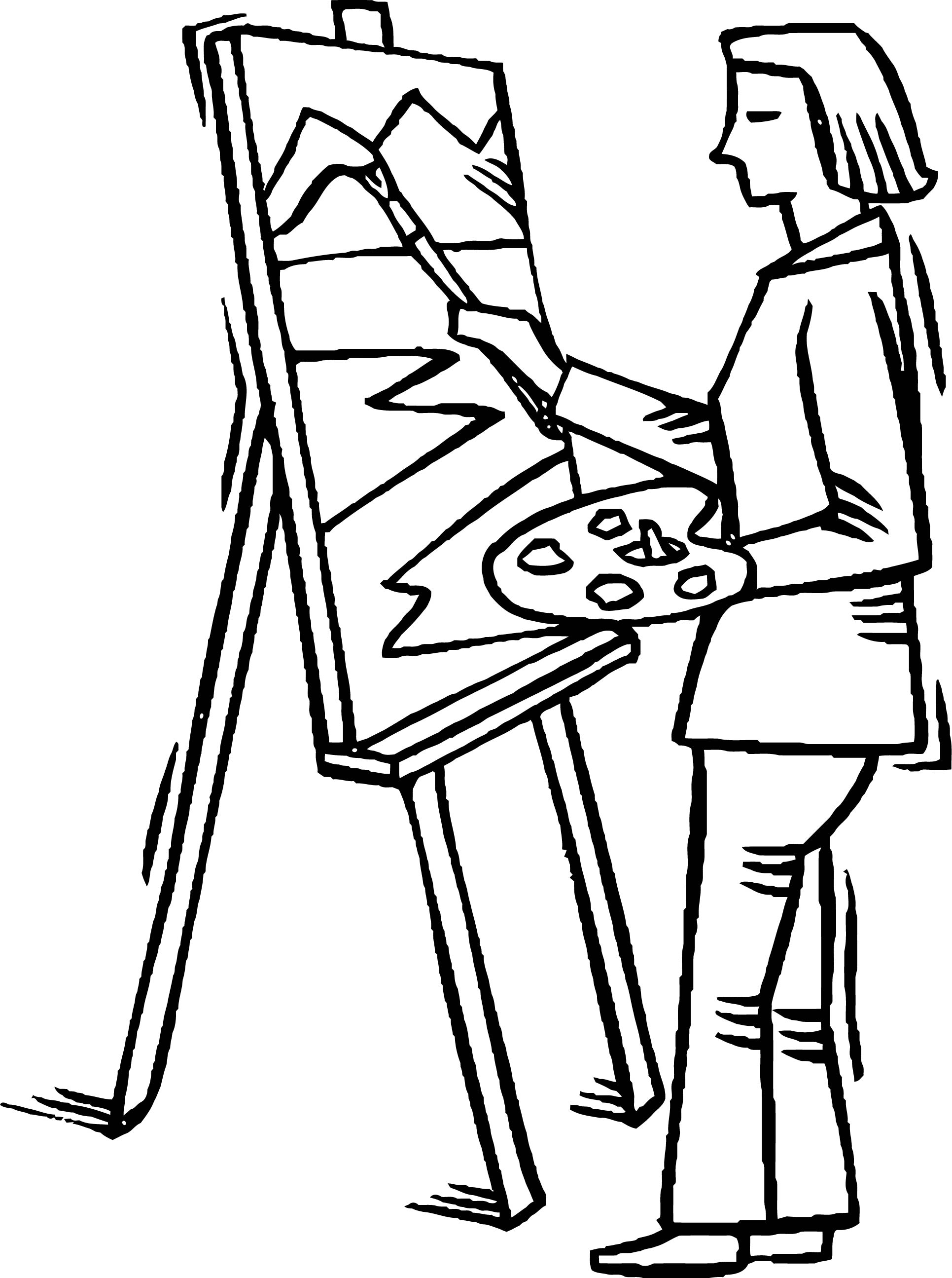 Painter Style Man Coloring Page