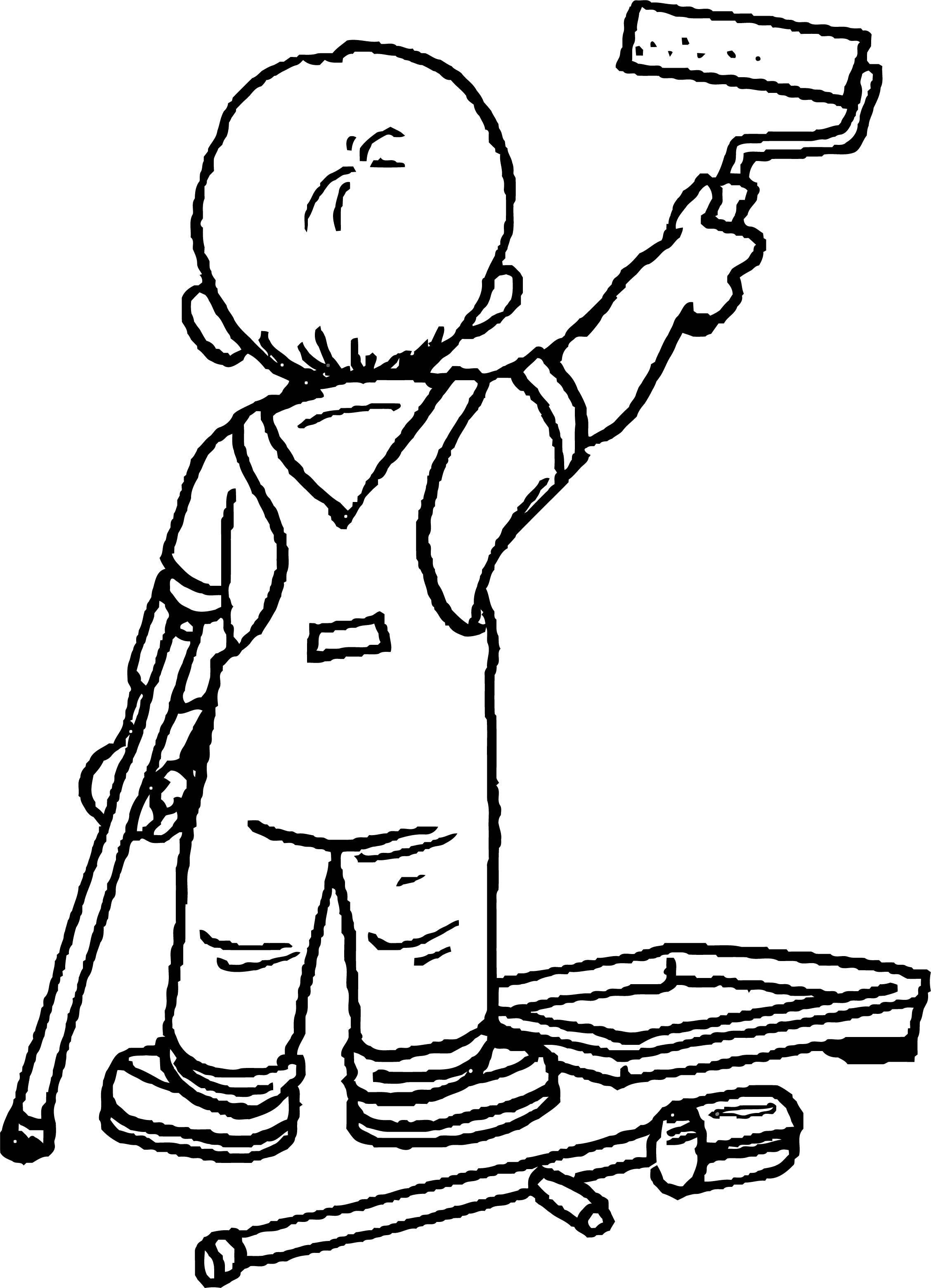 Painter Wall Coloring Page