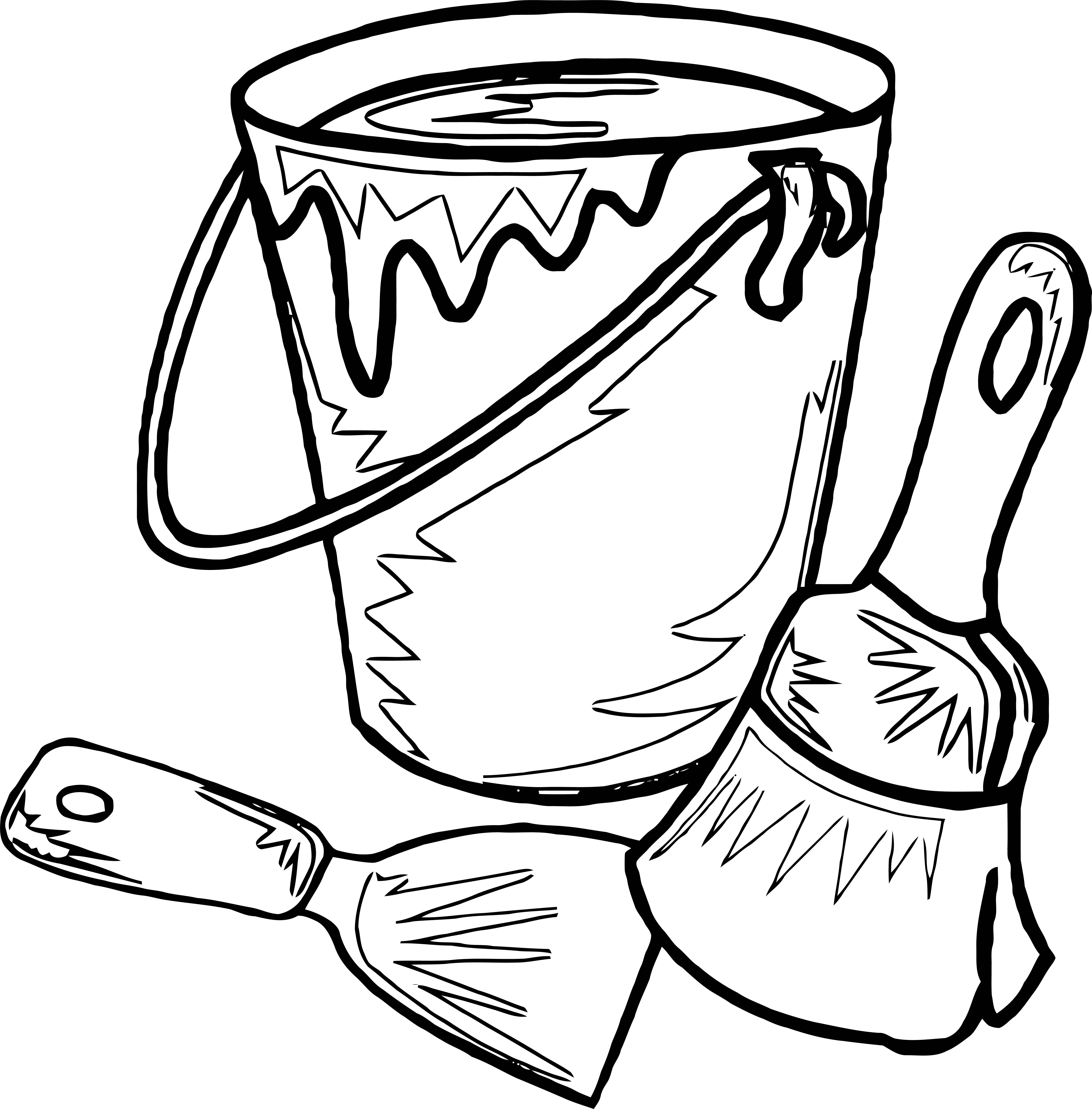 Painter Water Paint Bucket Brush Coloring Page