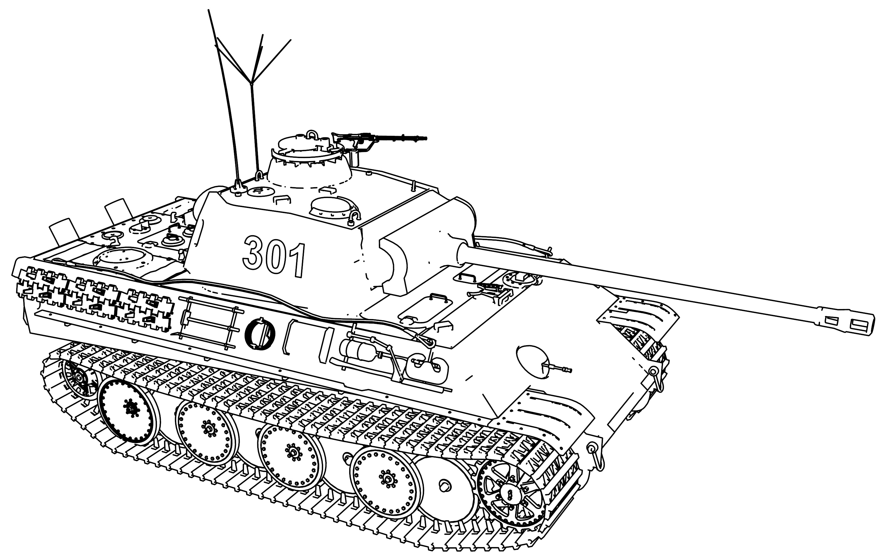Panther Ausf G Military Tank Coloring Page