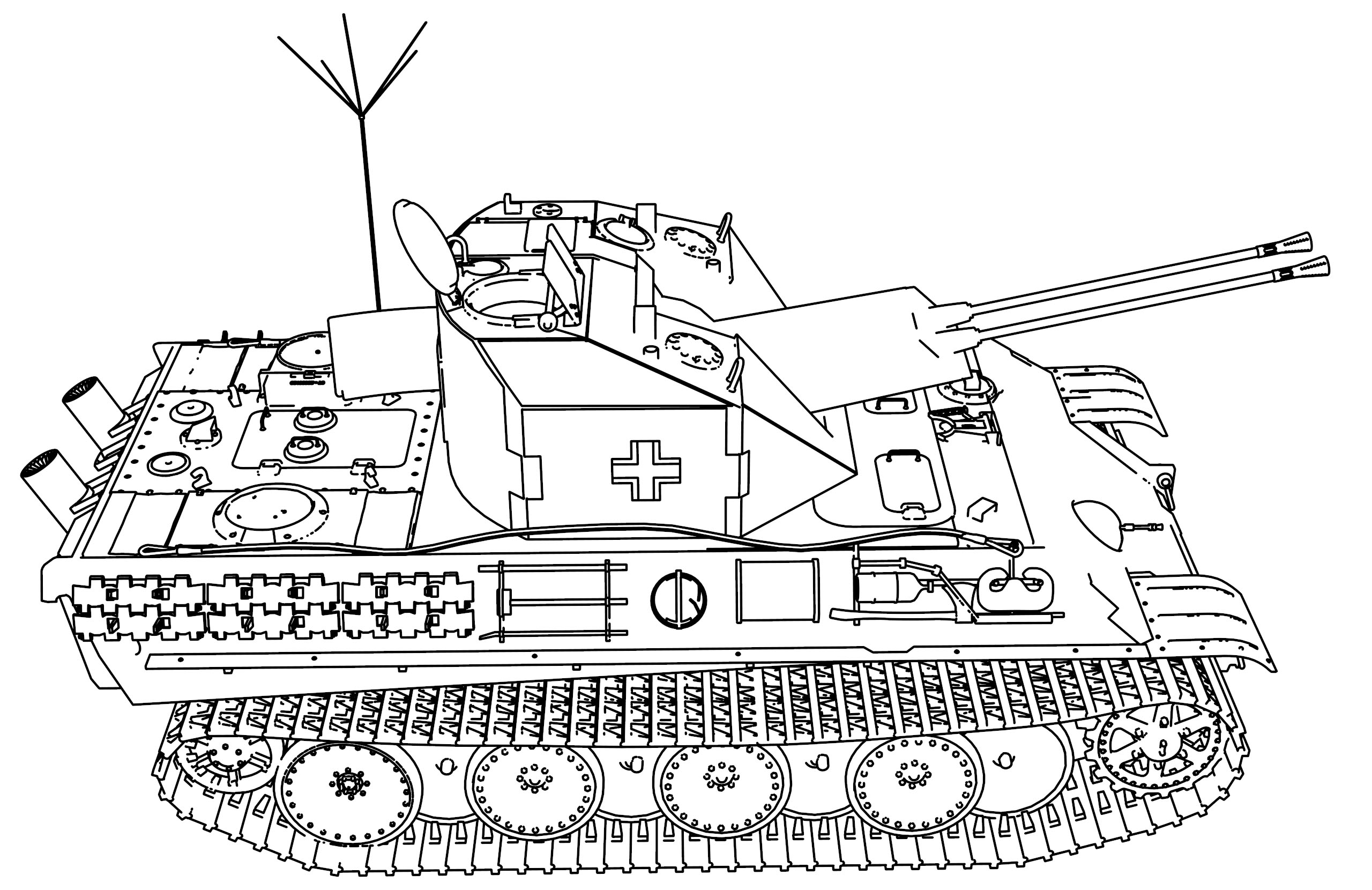 Panzer Coelian Military Tank Coloring Page