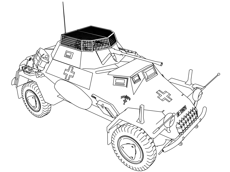 Panzerwag Sdsfz 222 Military Vehicle Coloring Page