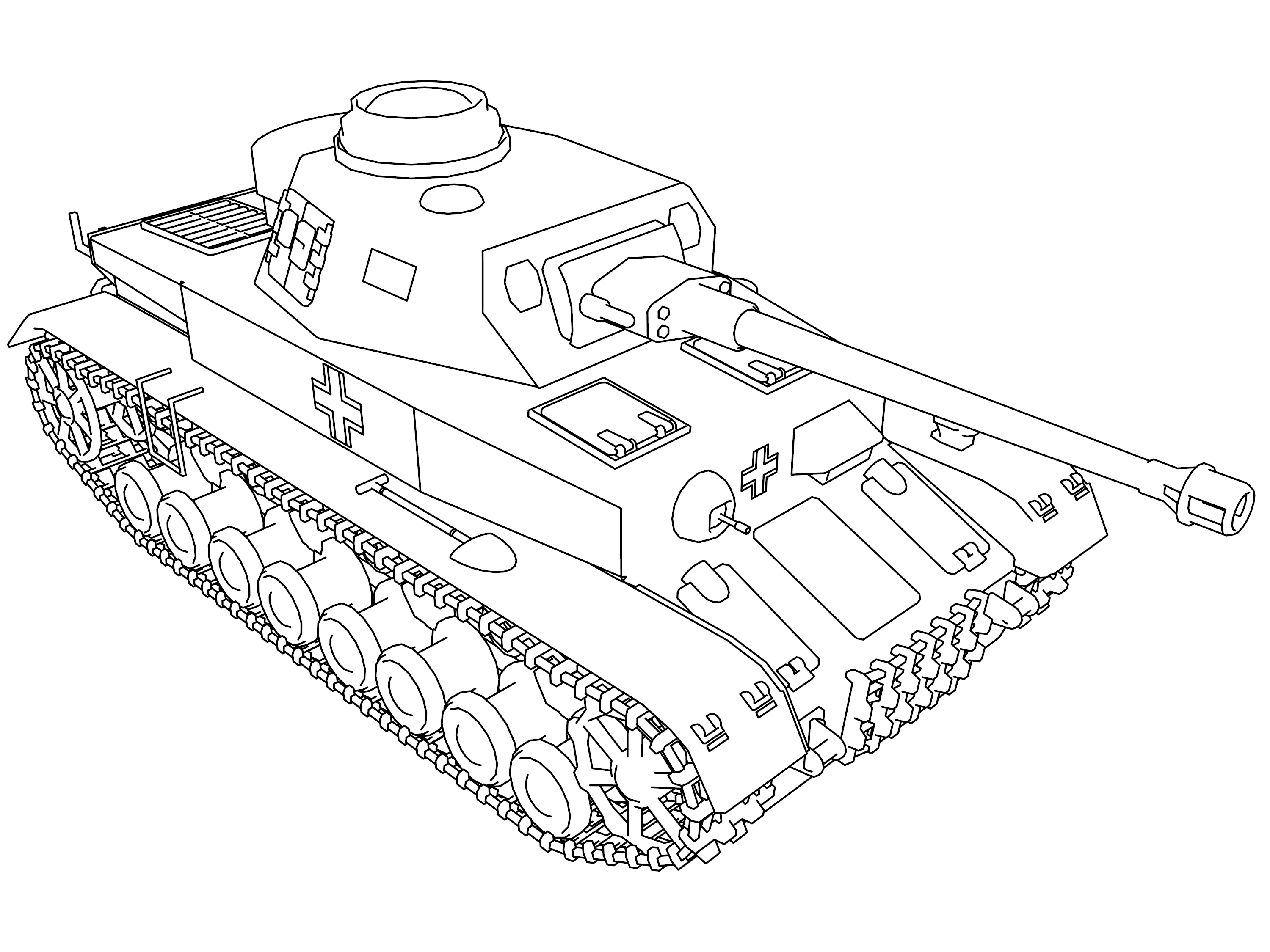 Pzkpfw 4 Military Vehicle Coloring Page