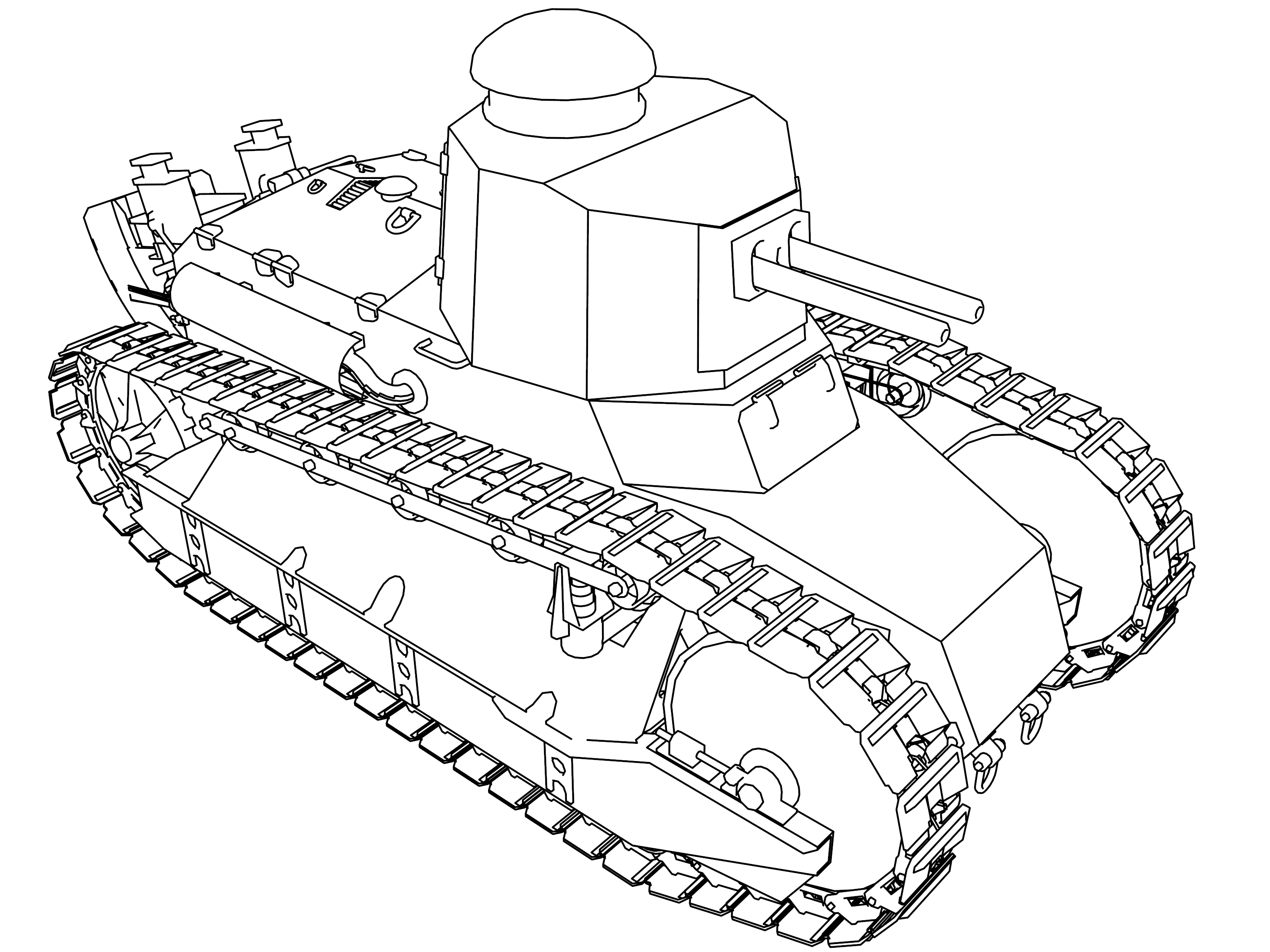 Renault Tank Military Vehicle Coloring Page