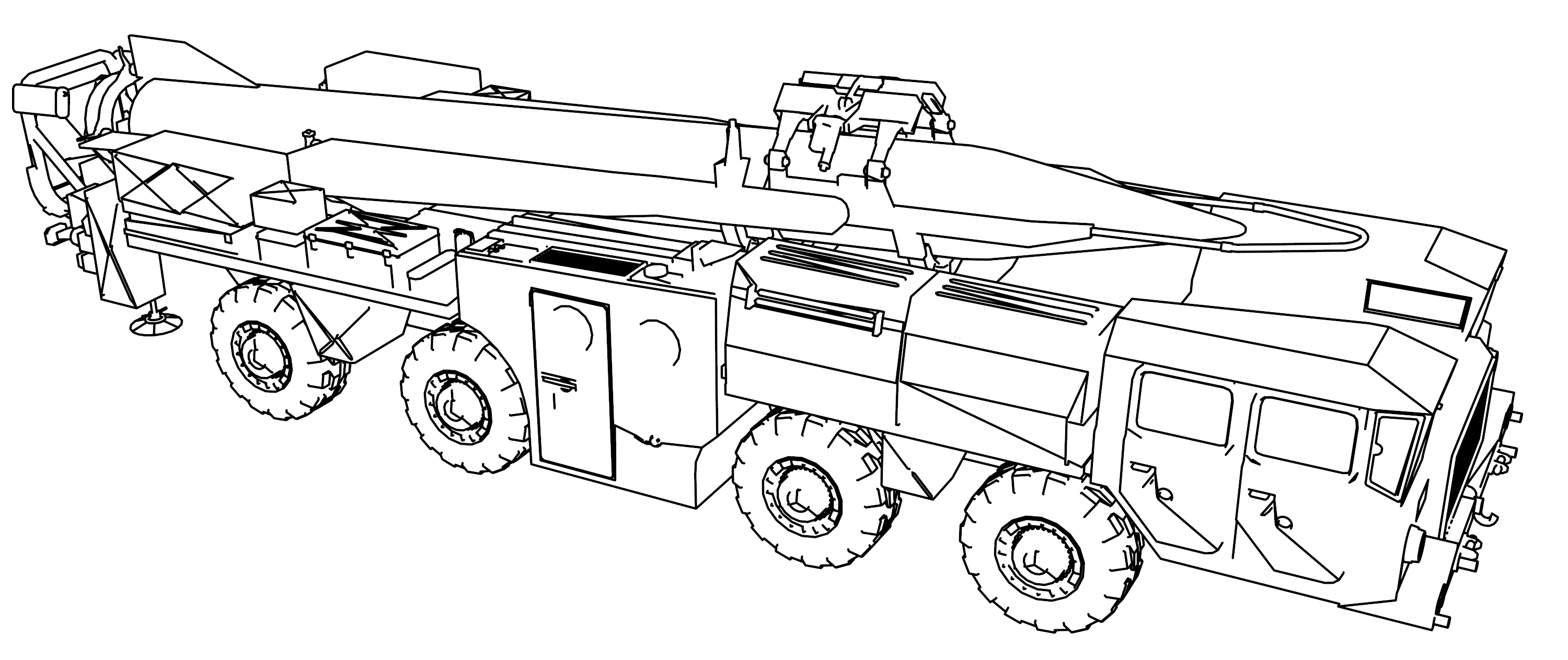 Scud Launcher V3 Rocket Launcher Military Tank Coloring Page