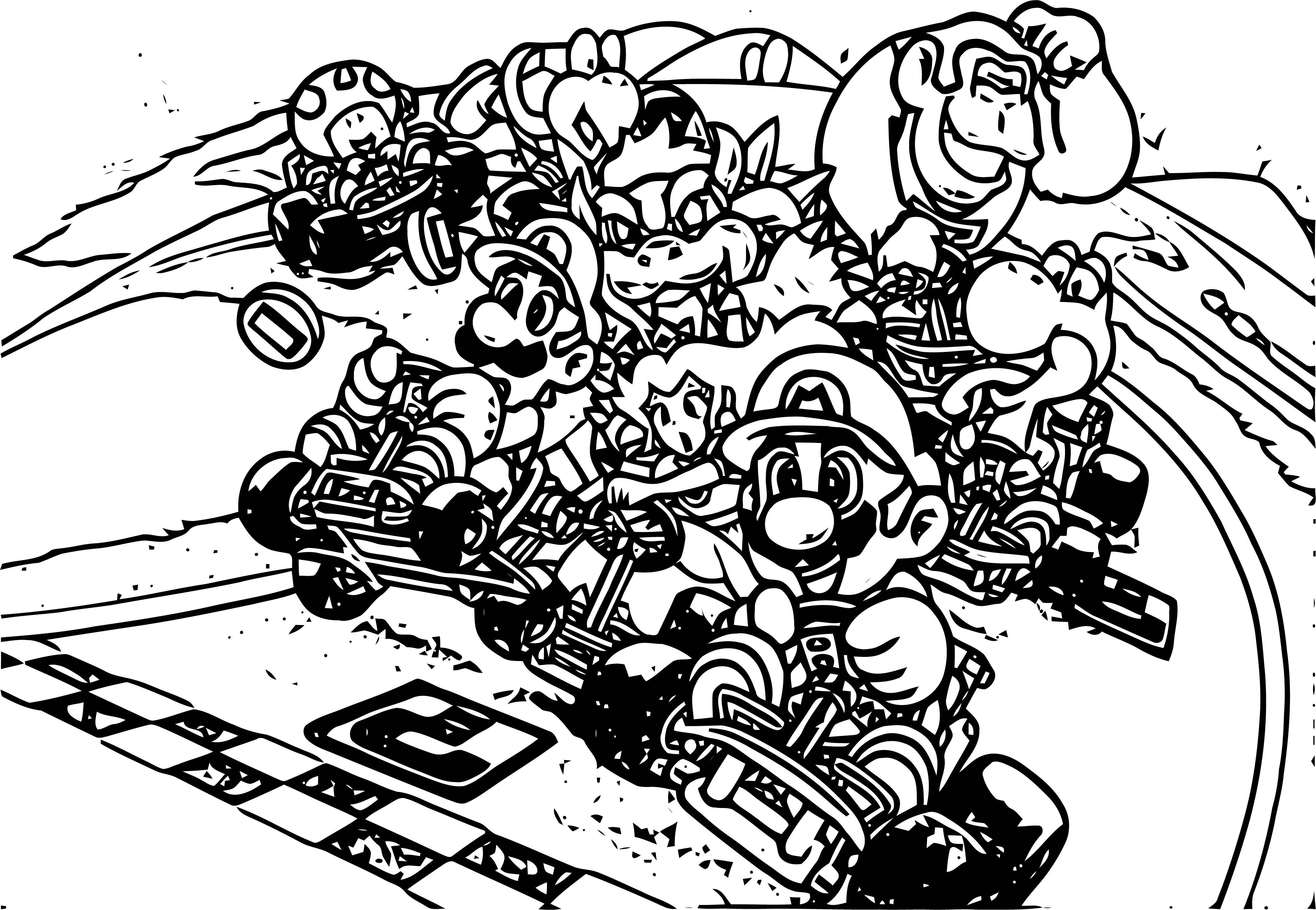 Super Mario Kart (Usa) Mario Kart Coloring Page