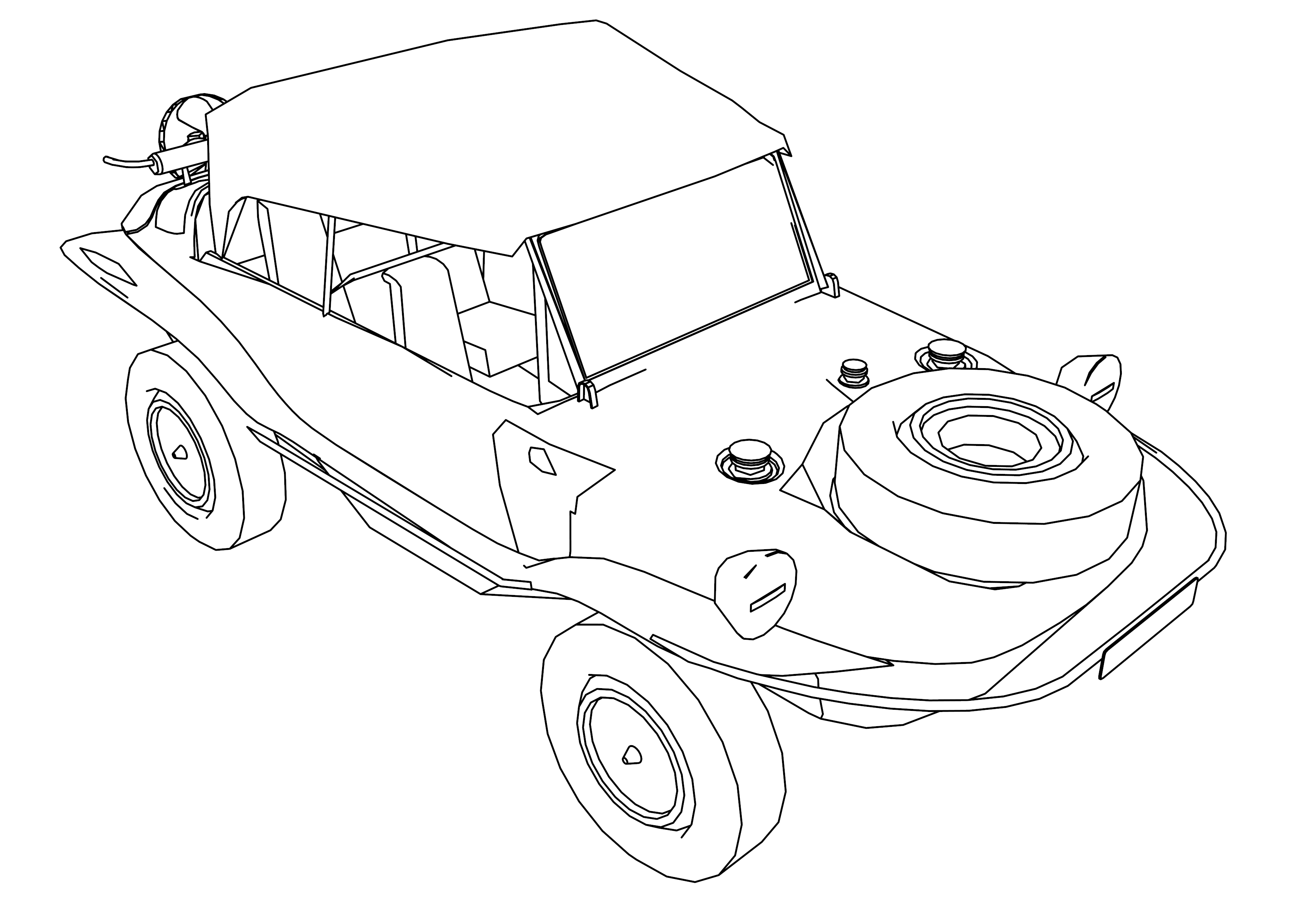 Swim Car Military Small Coloring Page