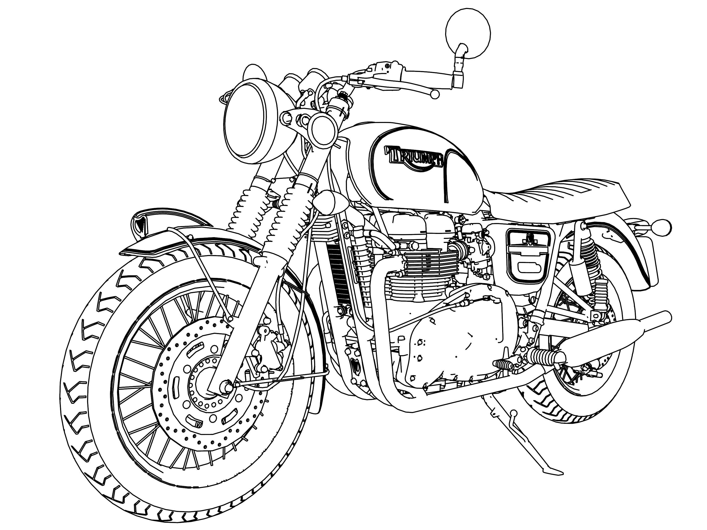 Triumph Bonneville Stout Bike Motorcycle Coloring Page 02