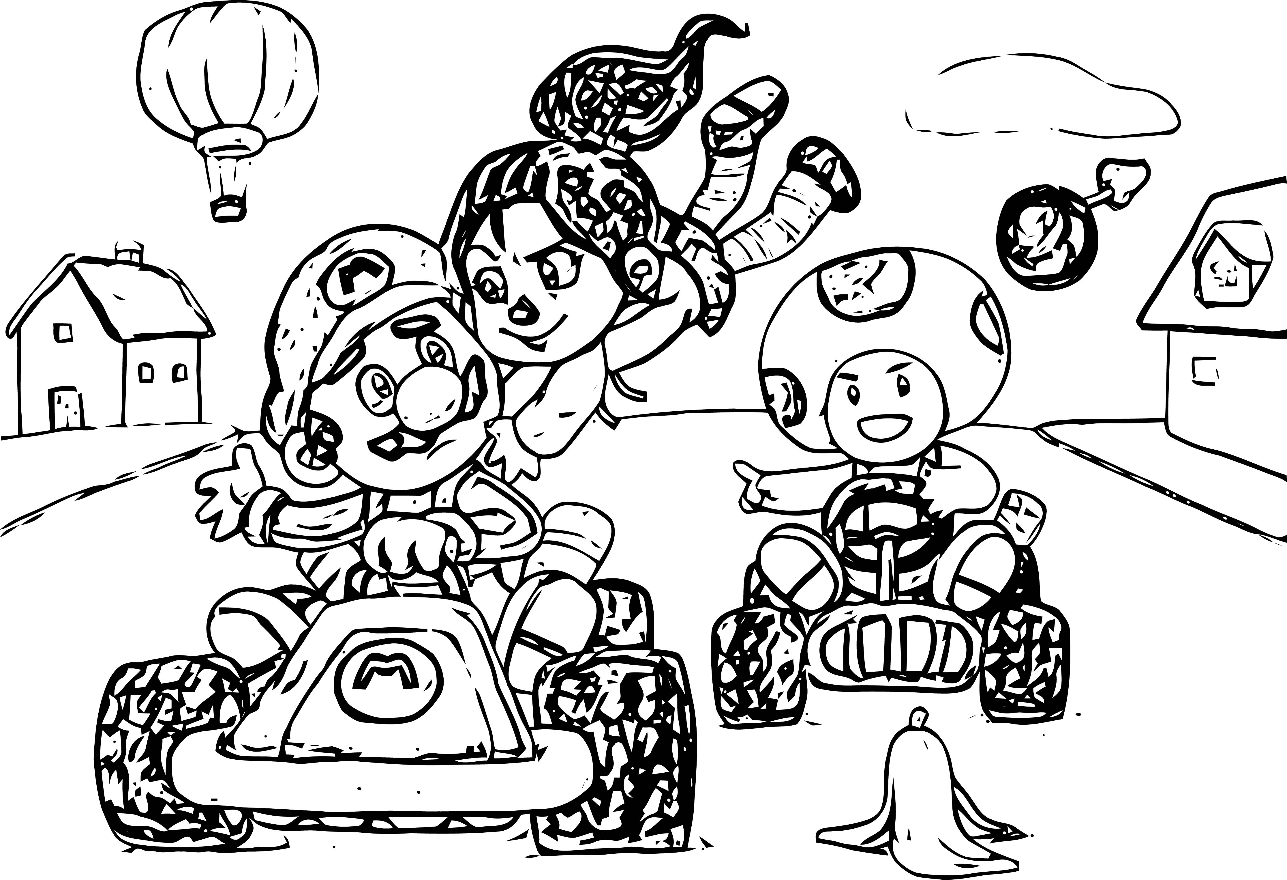 Vanellope Meets Mario Kart Coloring Page