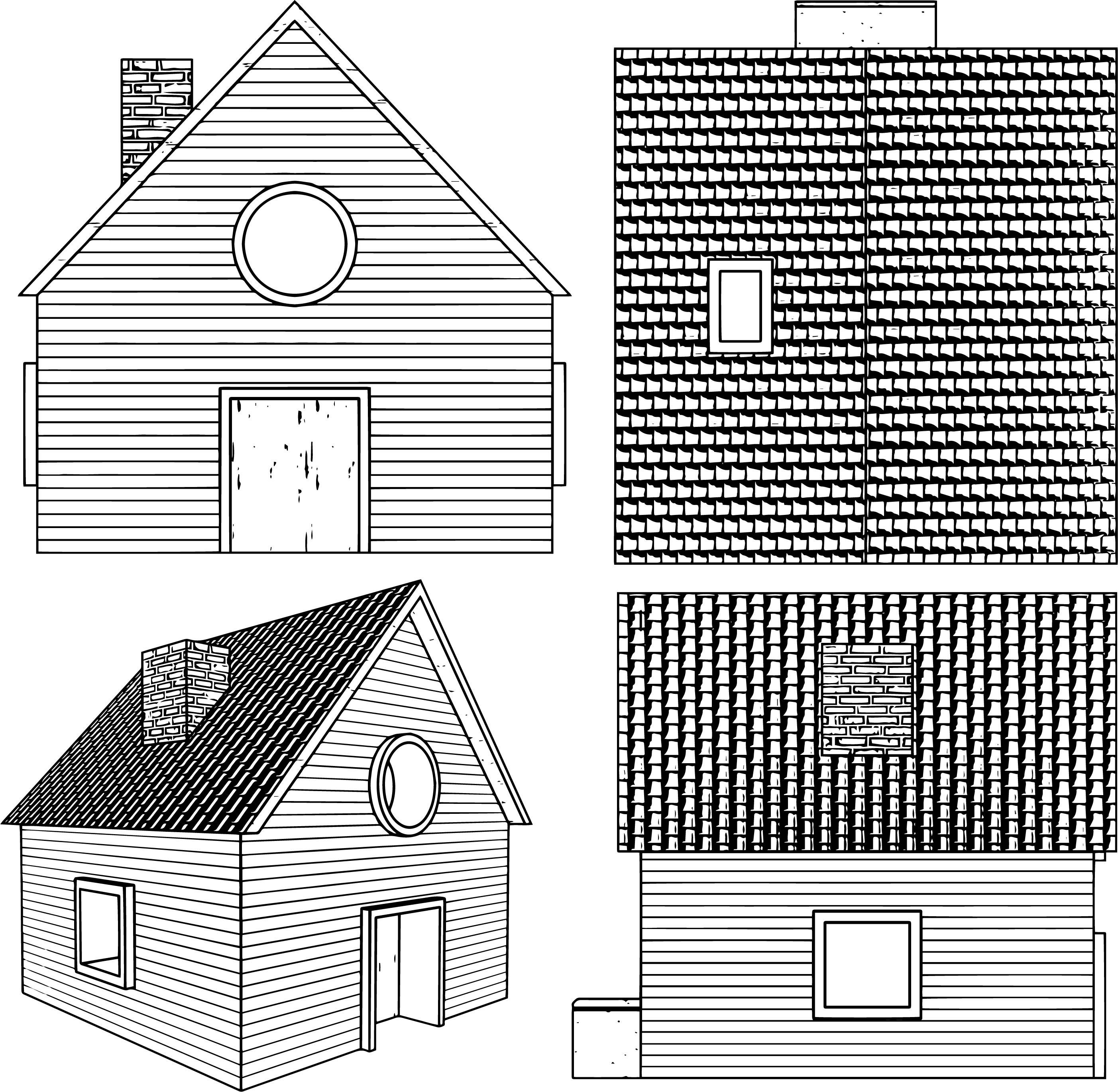 cartoon house casa coloring page