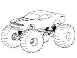 Dodge Challenger Truck Monster Car Coloring Page