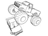 Heavy Monster Truck Crushing Car Coloring Page