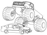 Monster Truck Crushing Car Coloring Page