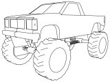 MonsterTruck Car Vehicle Automobile Muscle Giant Wheel Marian Coloring Page